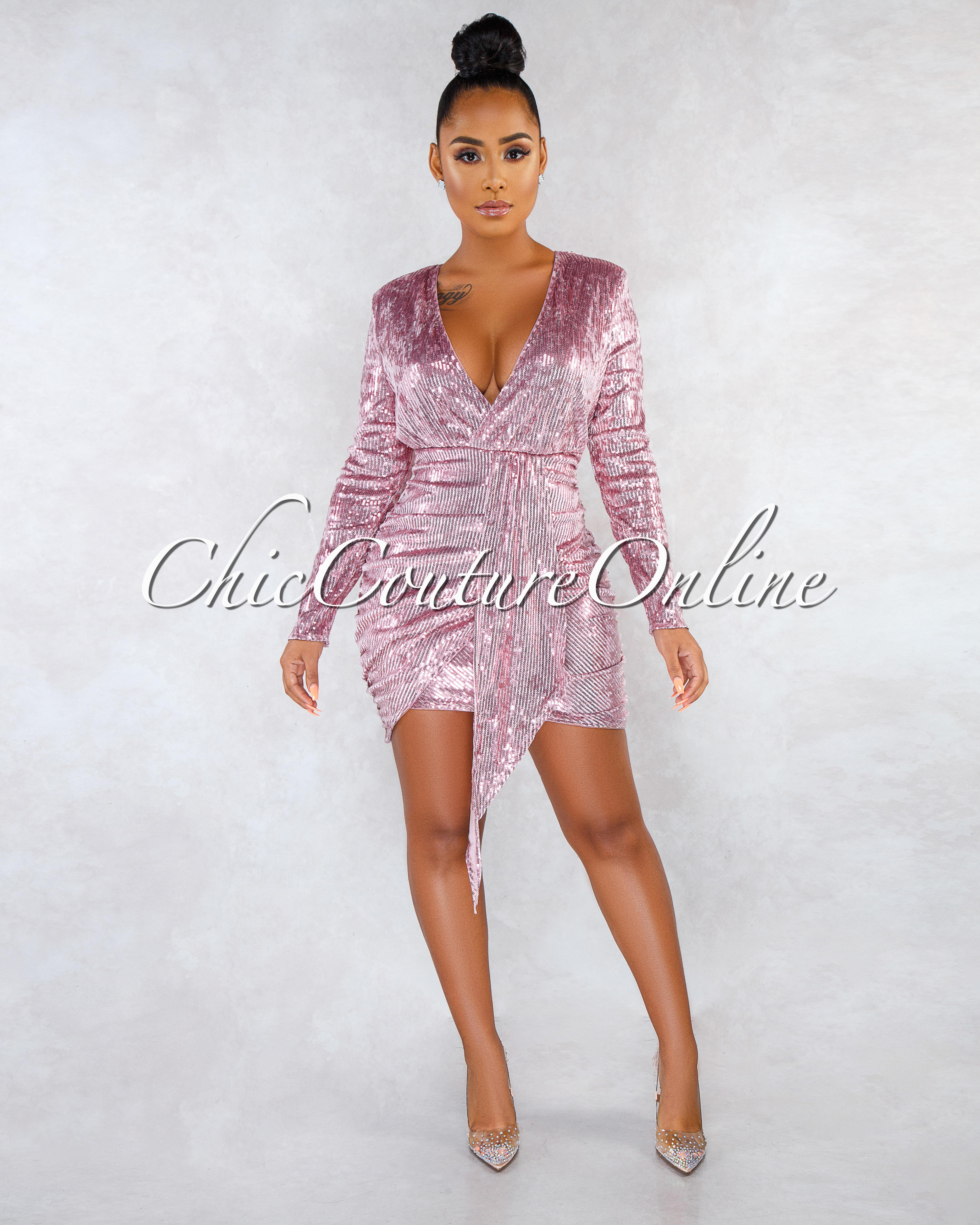 Sonia Pink Sequins Drap Details Overlay Mini Dress