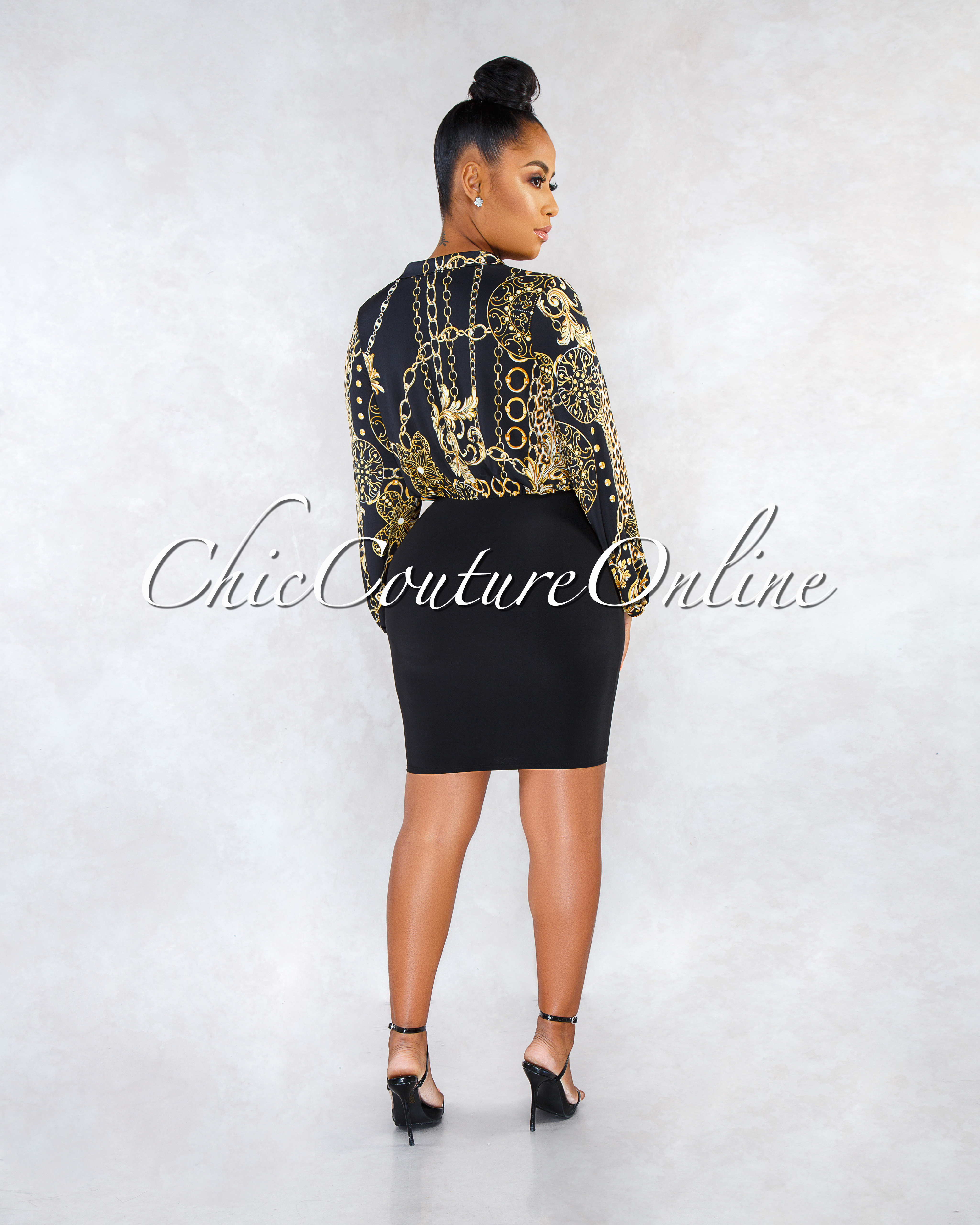 Edrie Black Gold Chain Print Wrap Top Dress