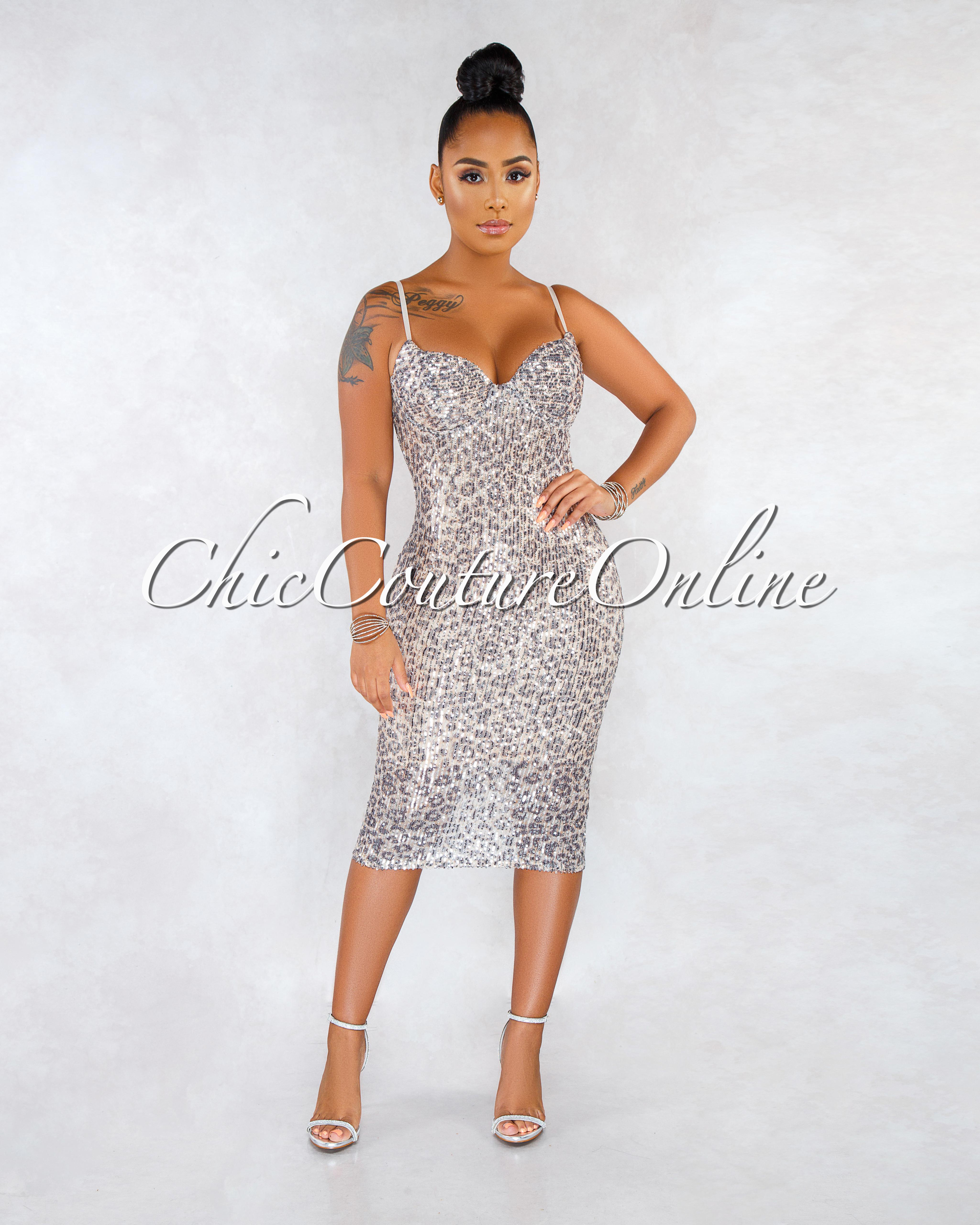 Mayla Leopard Print Silver Sequins Midi Dress