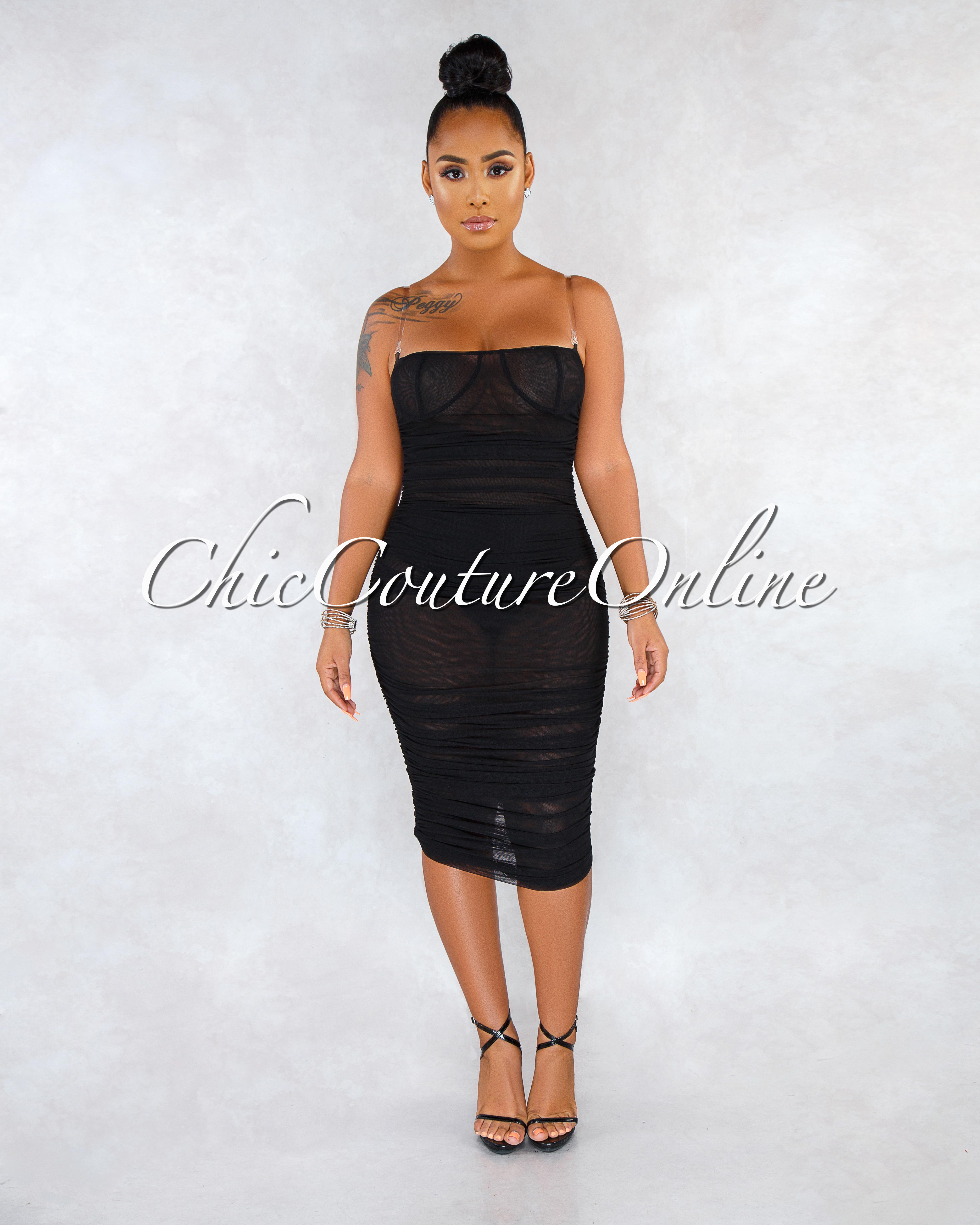 Enaya Black Mesh See-Through Ruched Clear Straps Dress