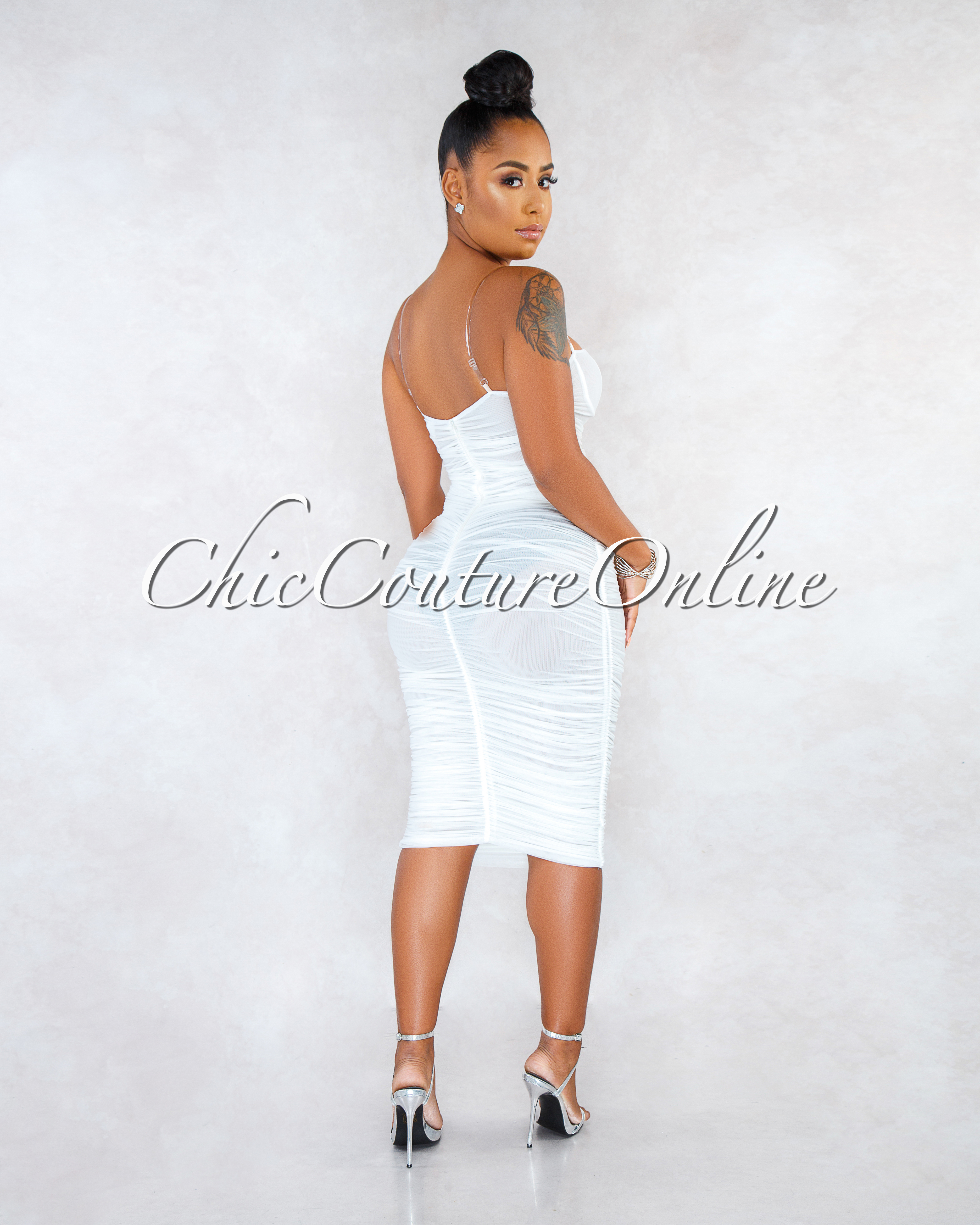 Enaya Off-White Mesh See-Through Ruched Clear Straps Dress