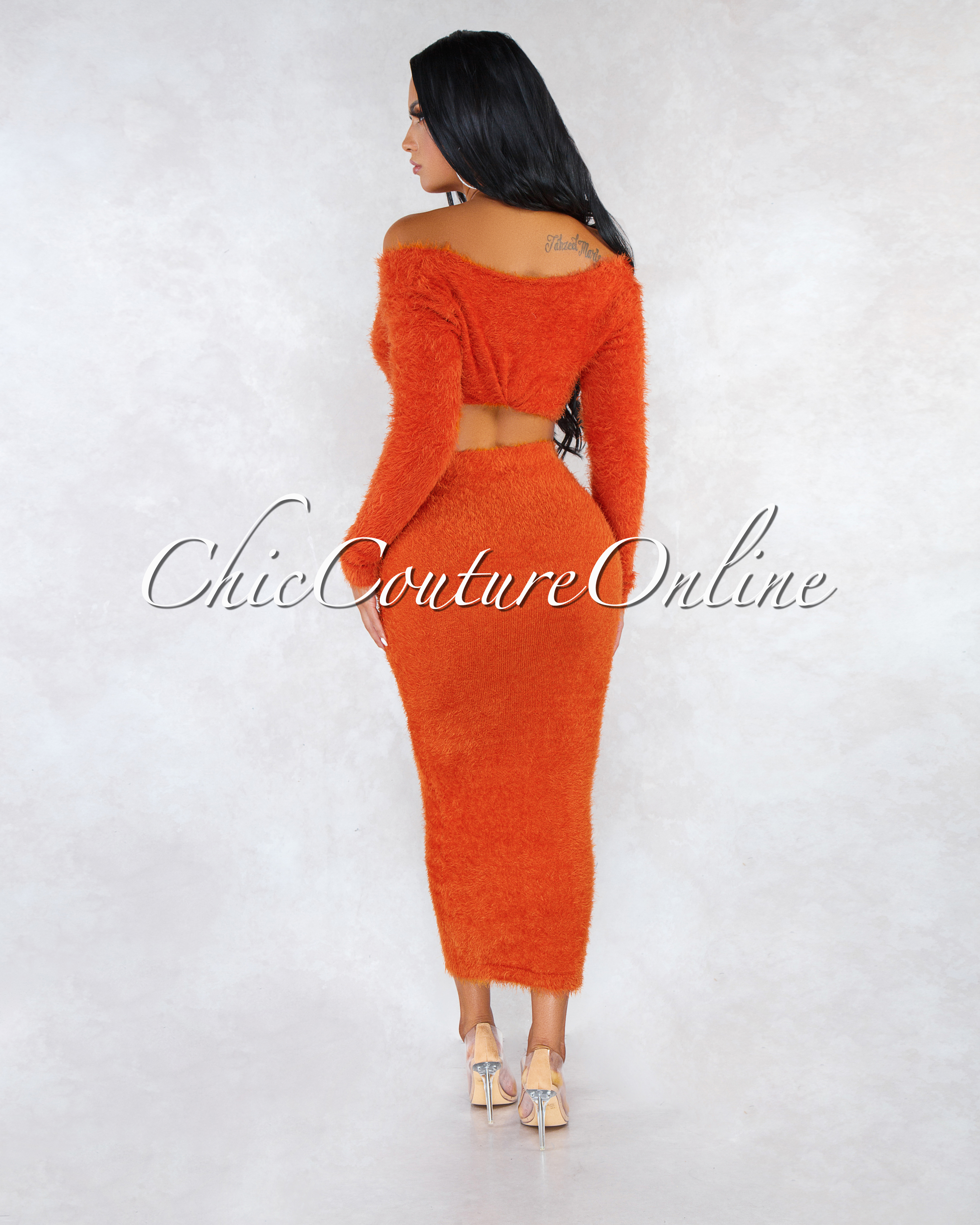 Carmella Orange Wrap Crop Sweater Midi Skirt Faux Fur Set
