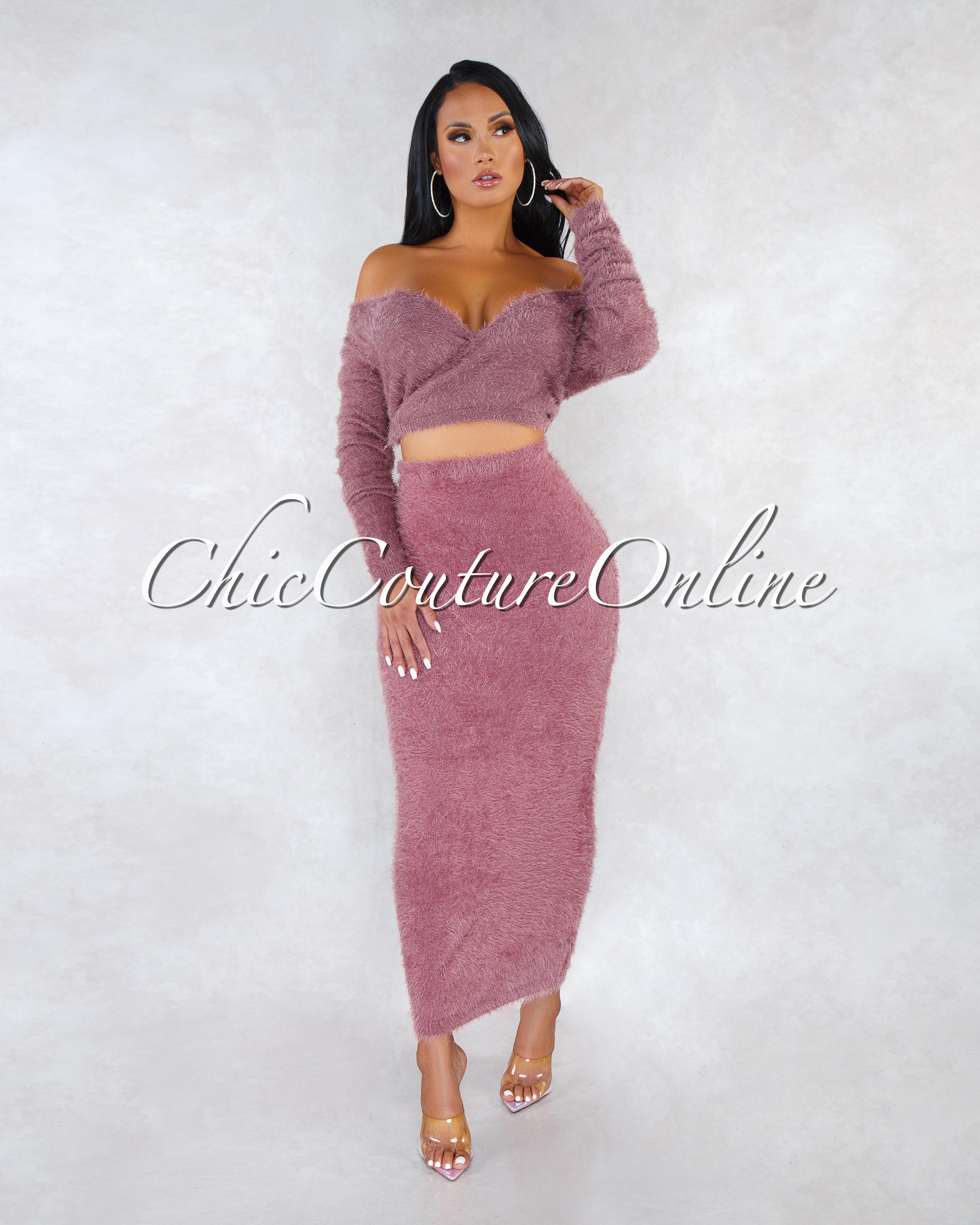 Carmella Mauve Wrap Crop Sweater Midi Skirt Faux Fur Set
