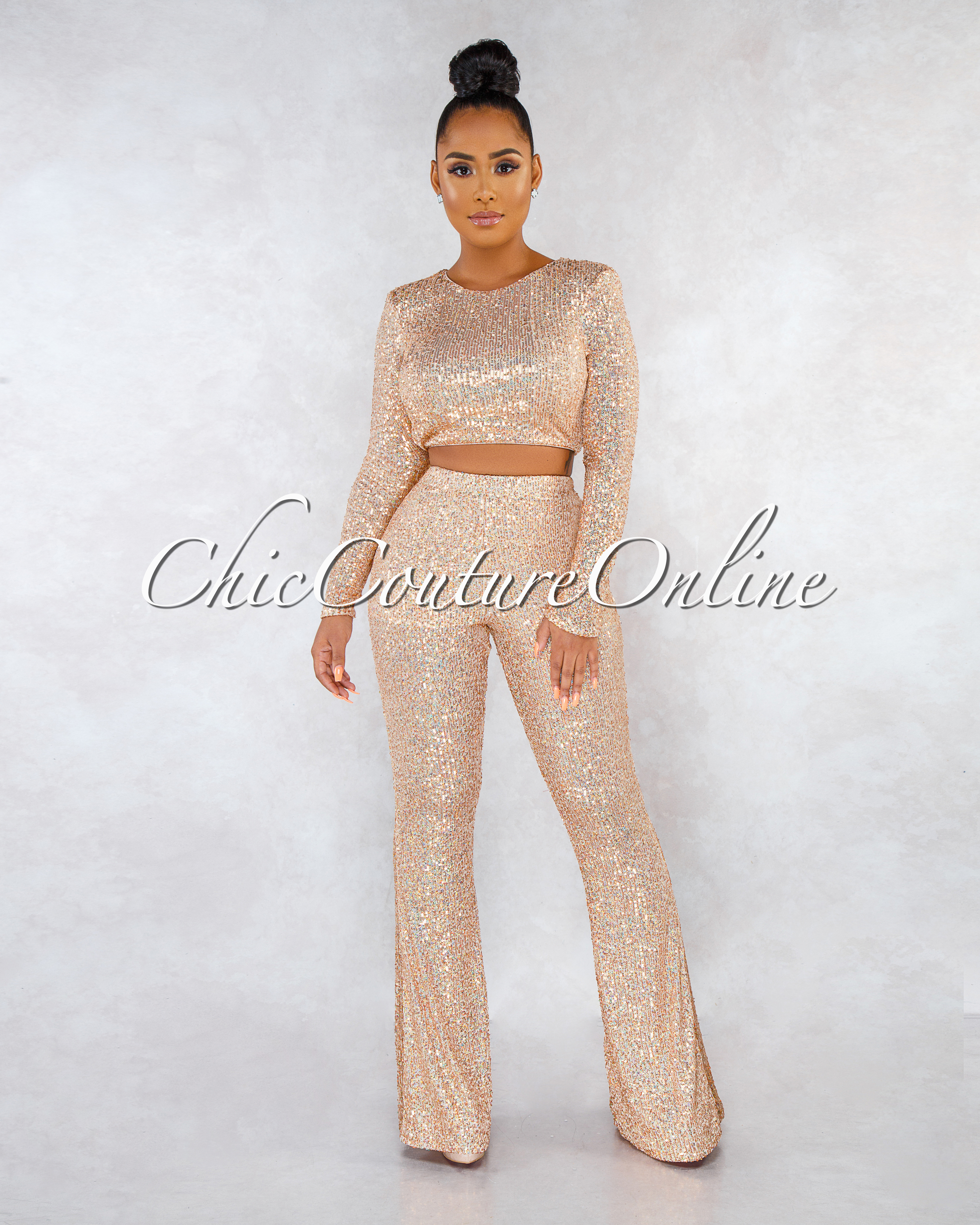 Neveah Rose Gold Sequins Two Piece Set