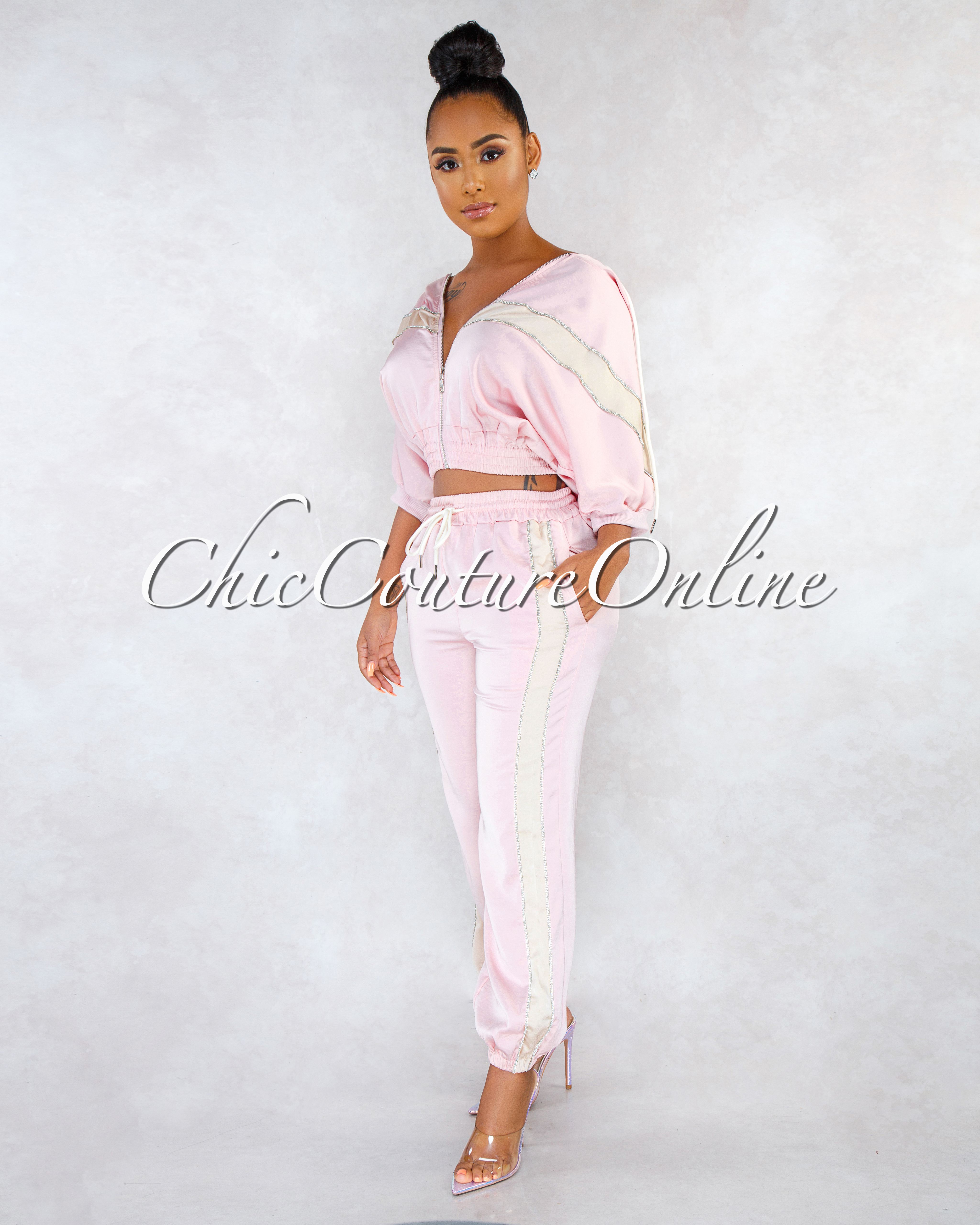 Serenity Pink Rhinestones Details Two Piece Jogger Set