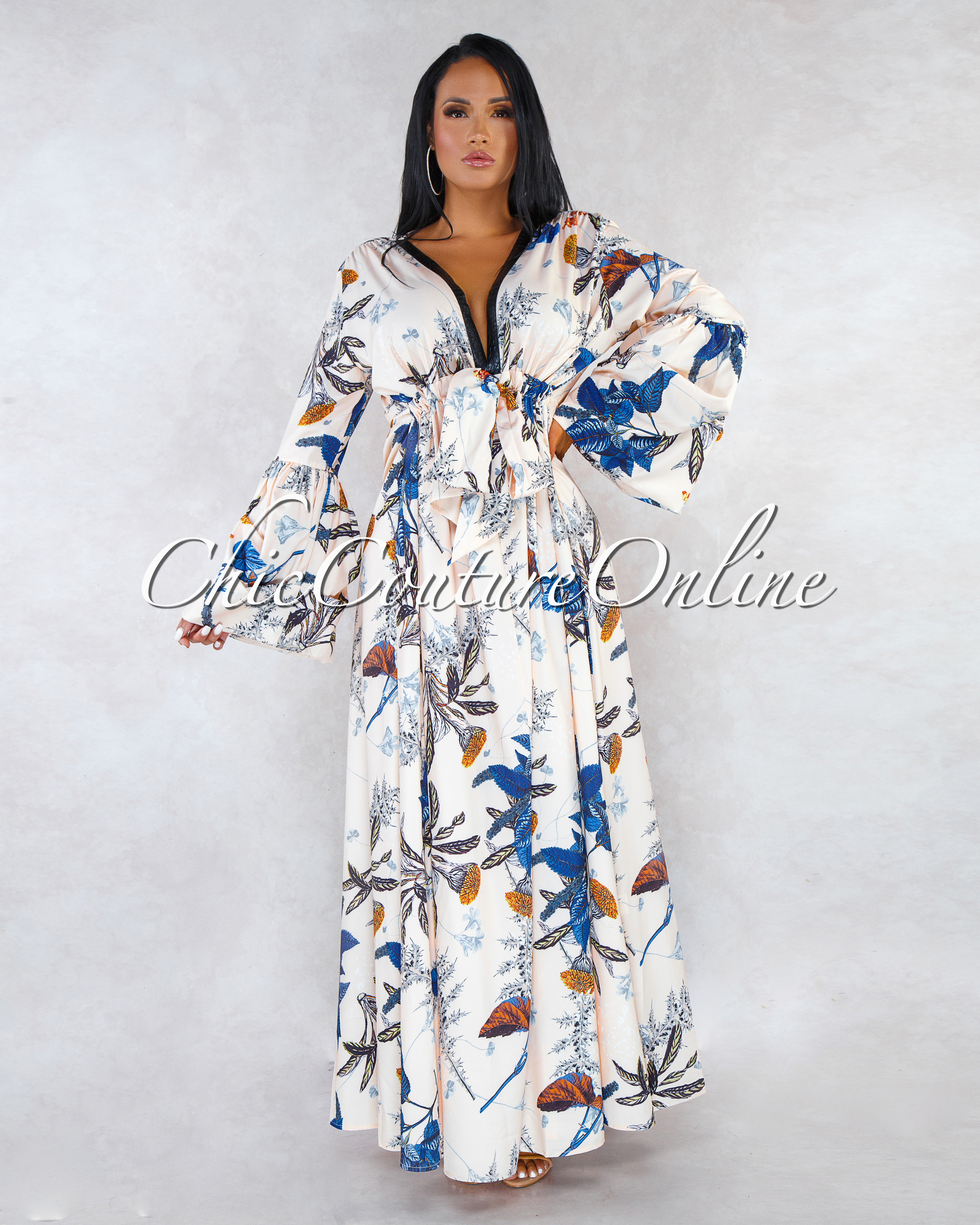 Dominika Ivory Multi-Color Leaf Print Puffy Sleeves Maxi Dress