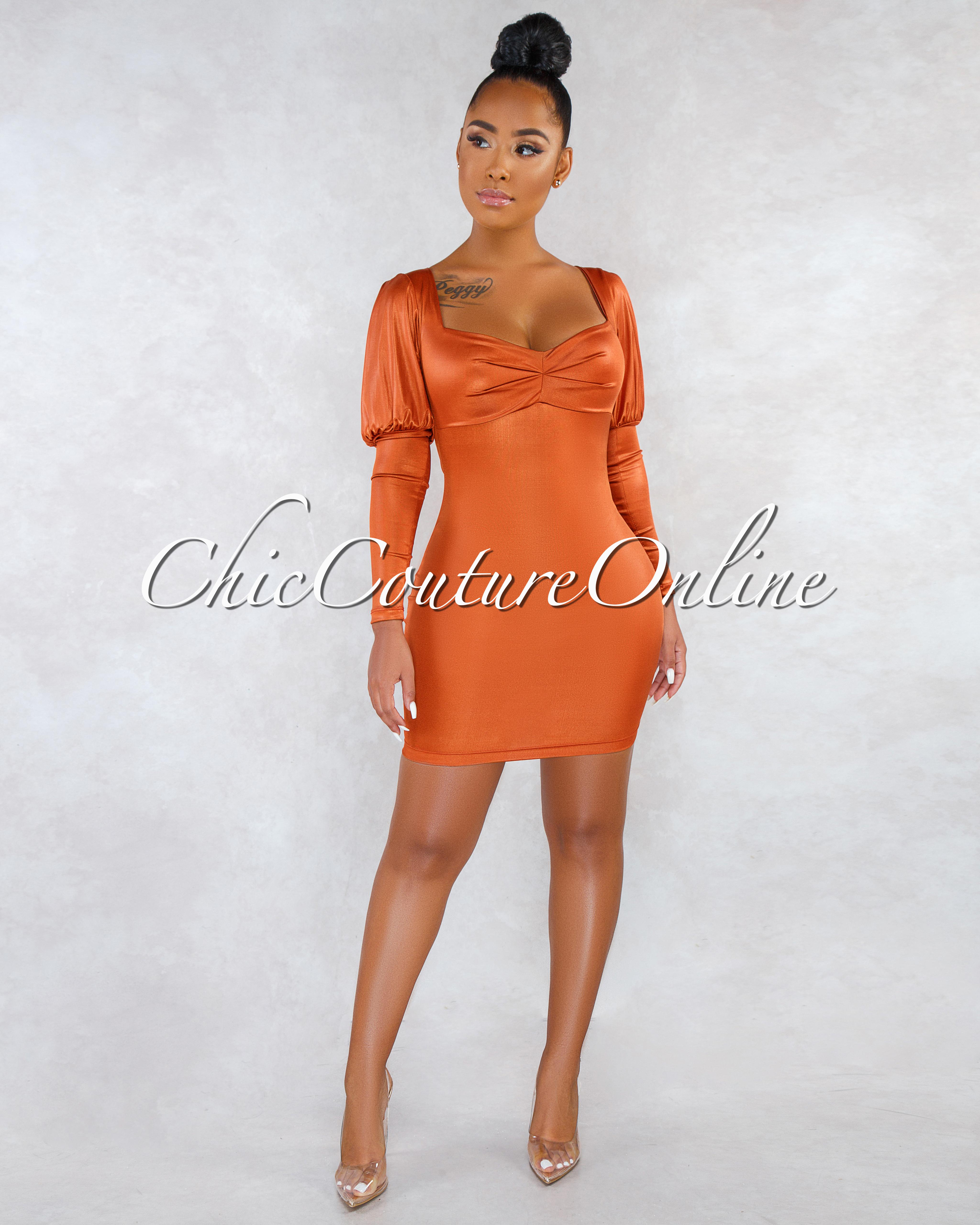 Abelina Rust Satin Puffy Sleeves Short Dress