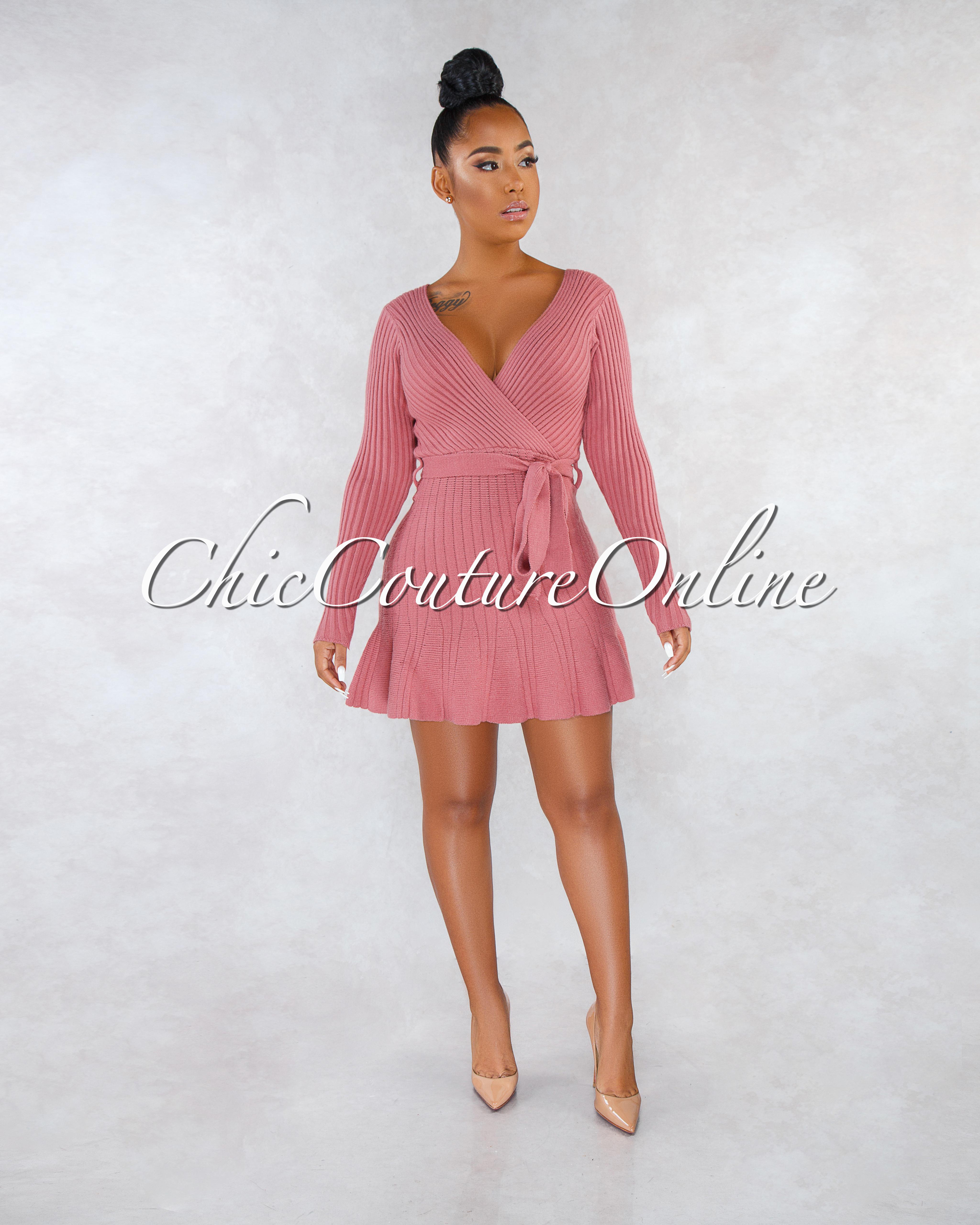 Calisha Mauve Ribbed Wrap Top Knit Flare Bottom Dress