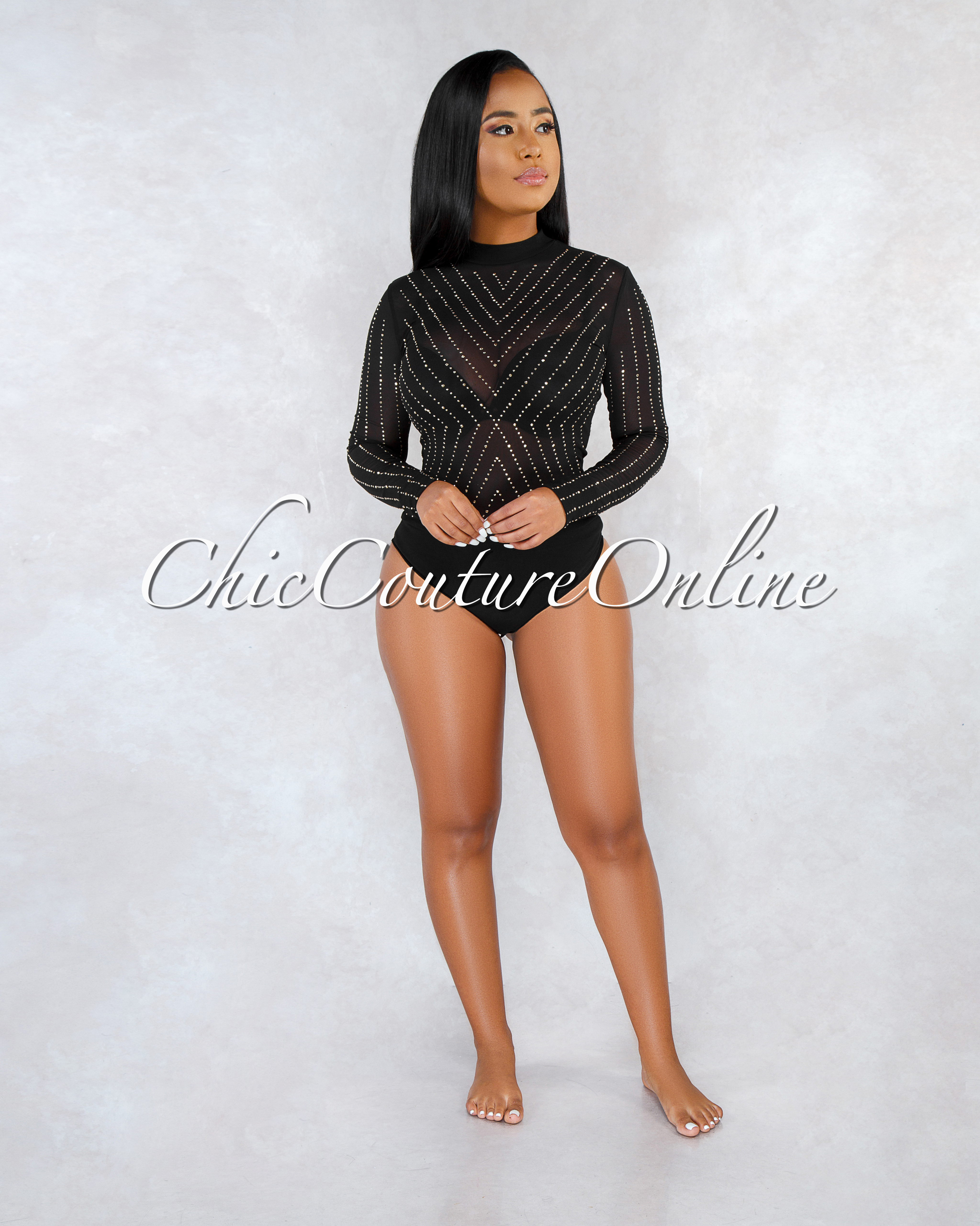 Paris Black Mesh Gold Studs Embellished Sheer Bodysuit