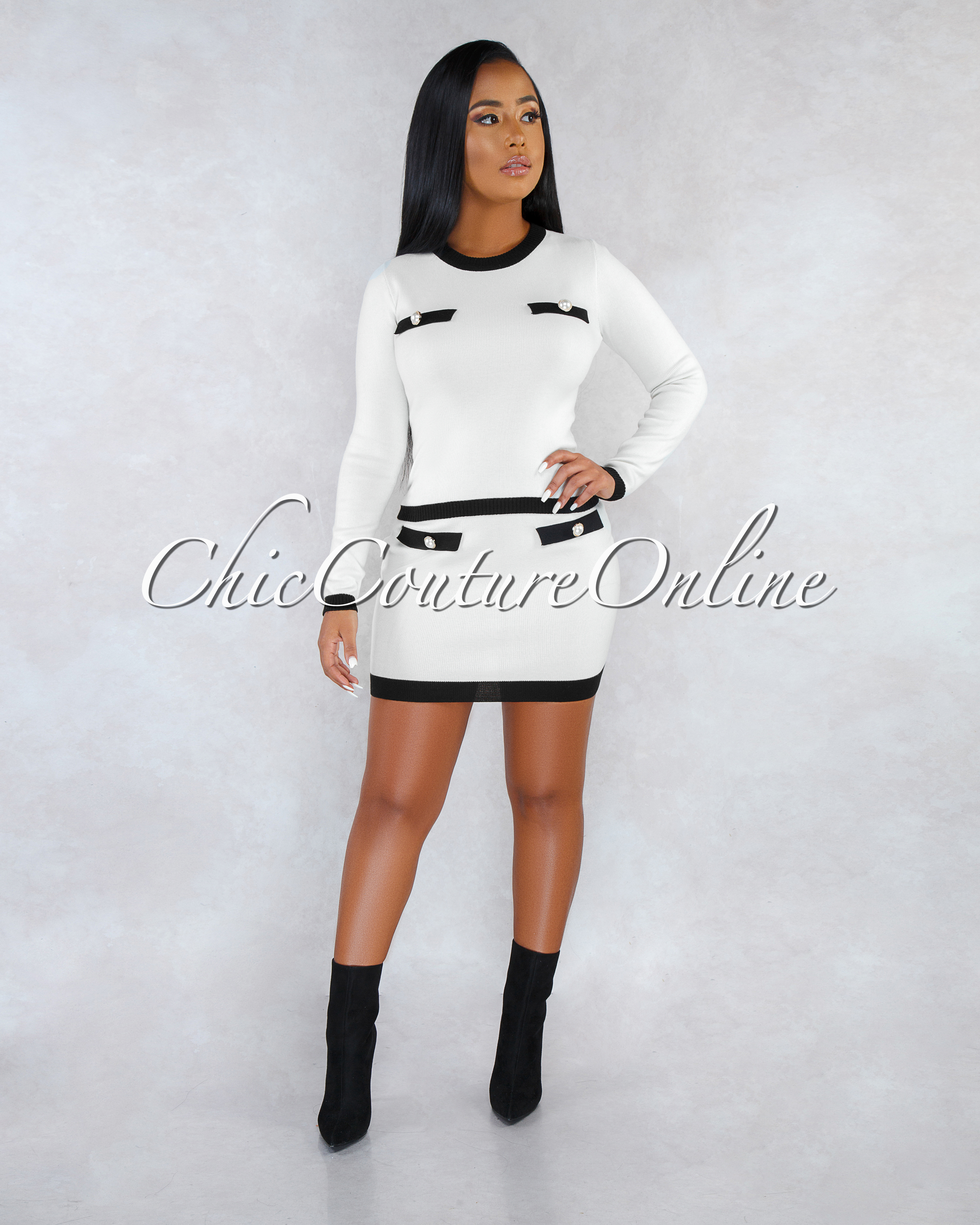 Reyna Ivory Black Trim Pearl Buttons Knit Two Piece Set