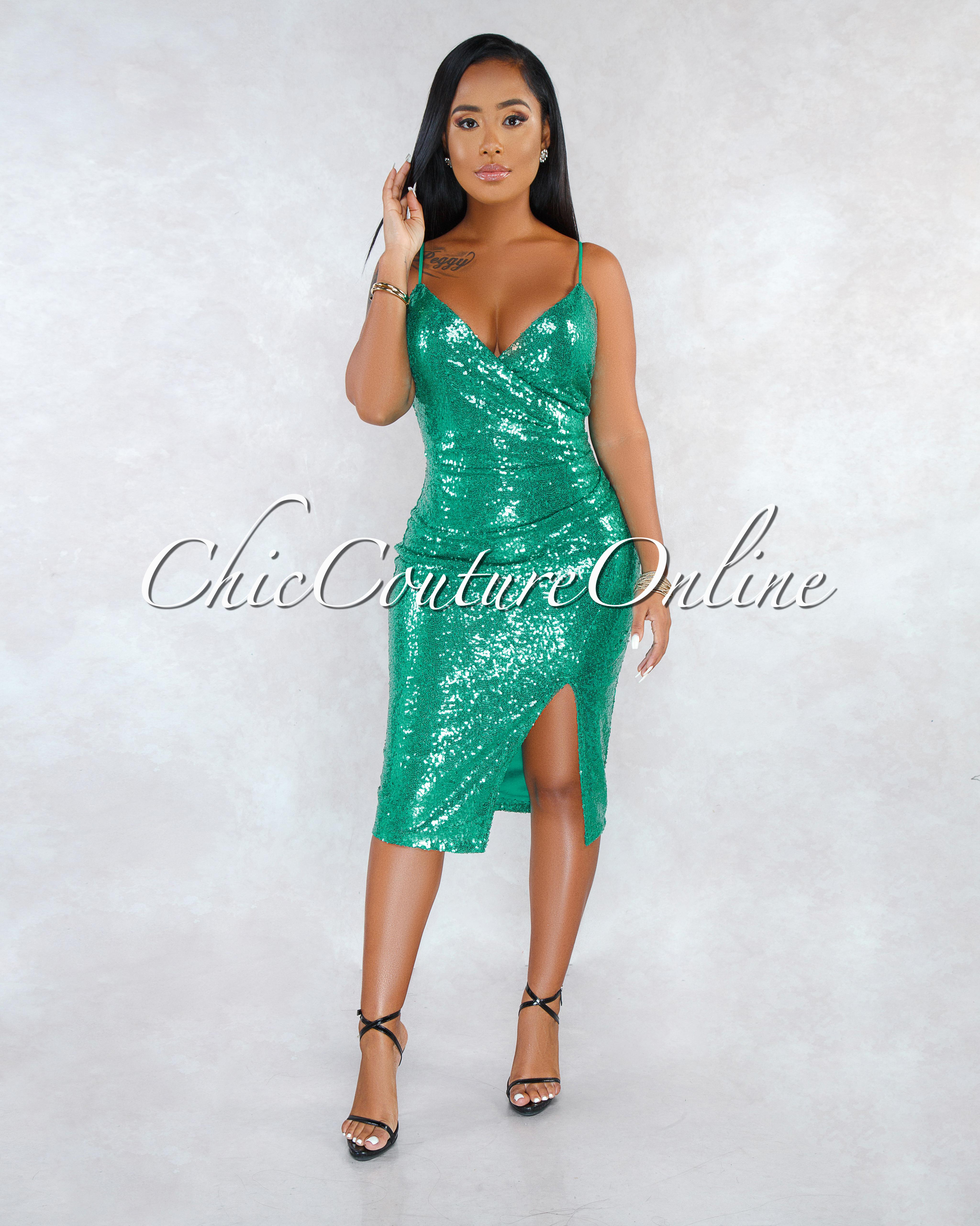 Rany Jade Sequins Faux Wrap Draped Midi Dress