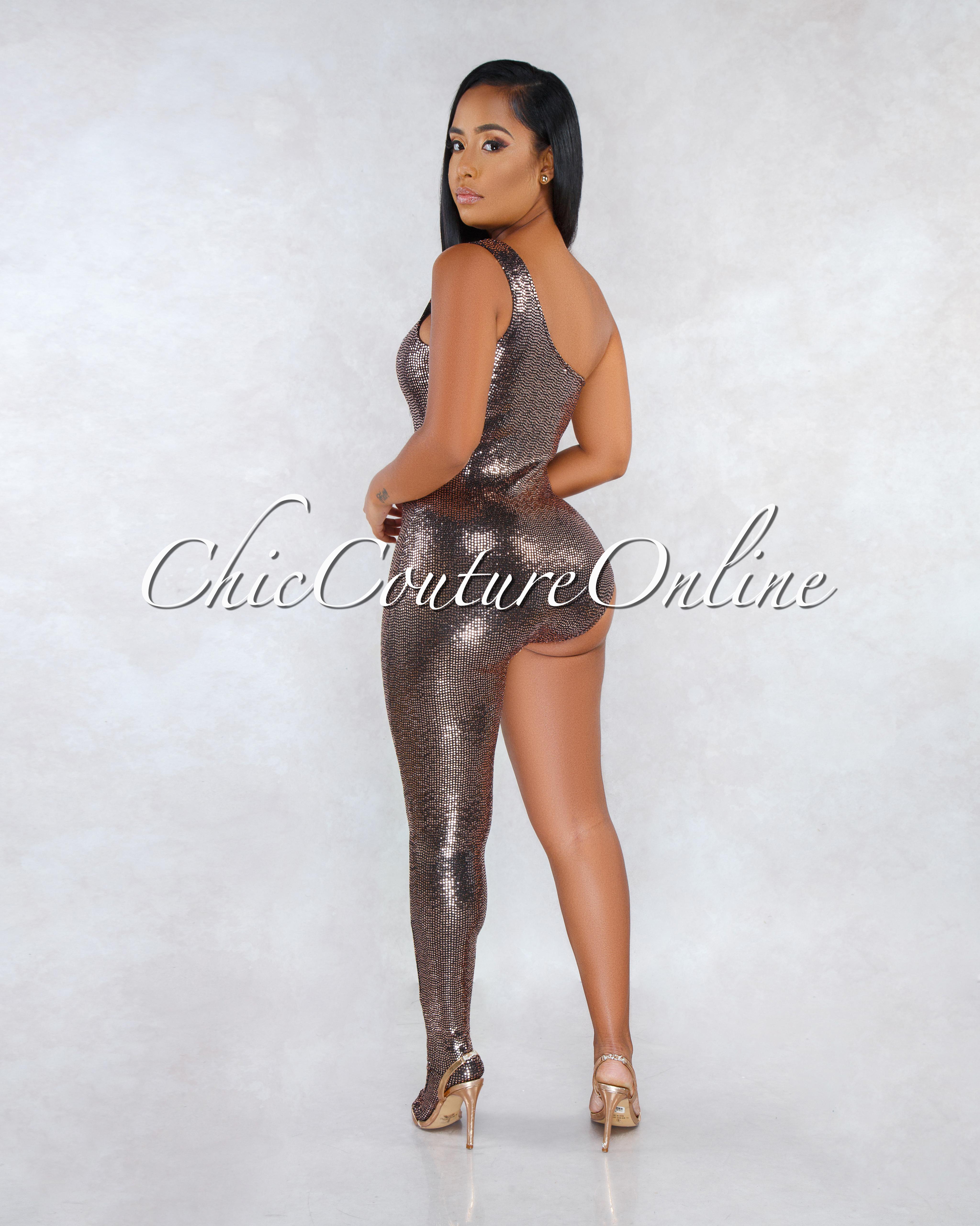 Pascale Black Copper Sequins Single Leg Jumpsuit