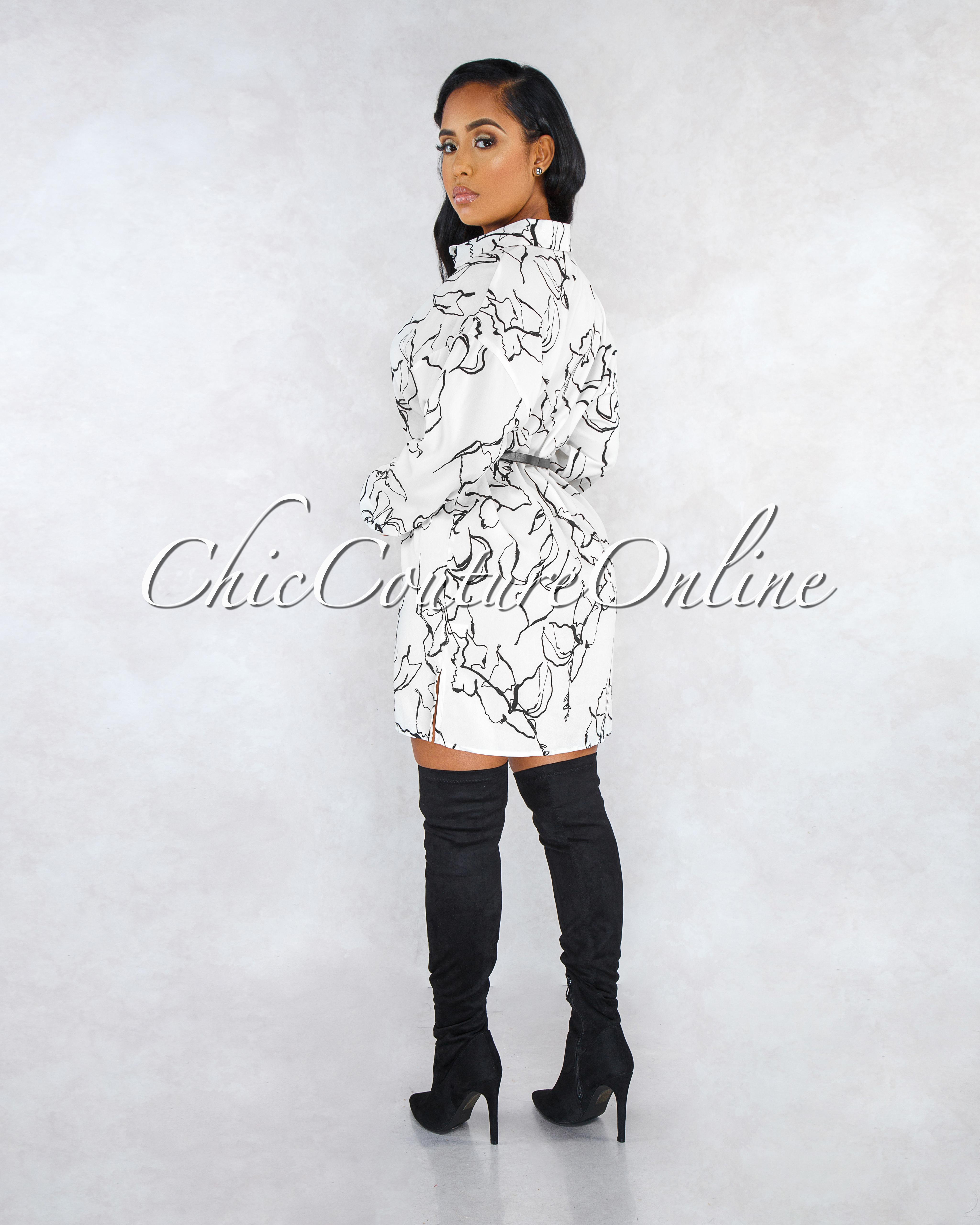 Romy Off-White Black Print Belted Shirt Dress