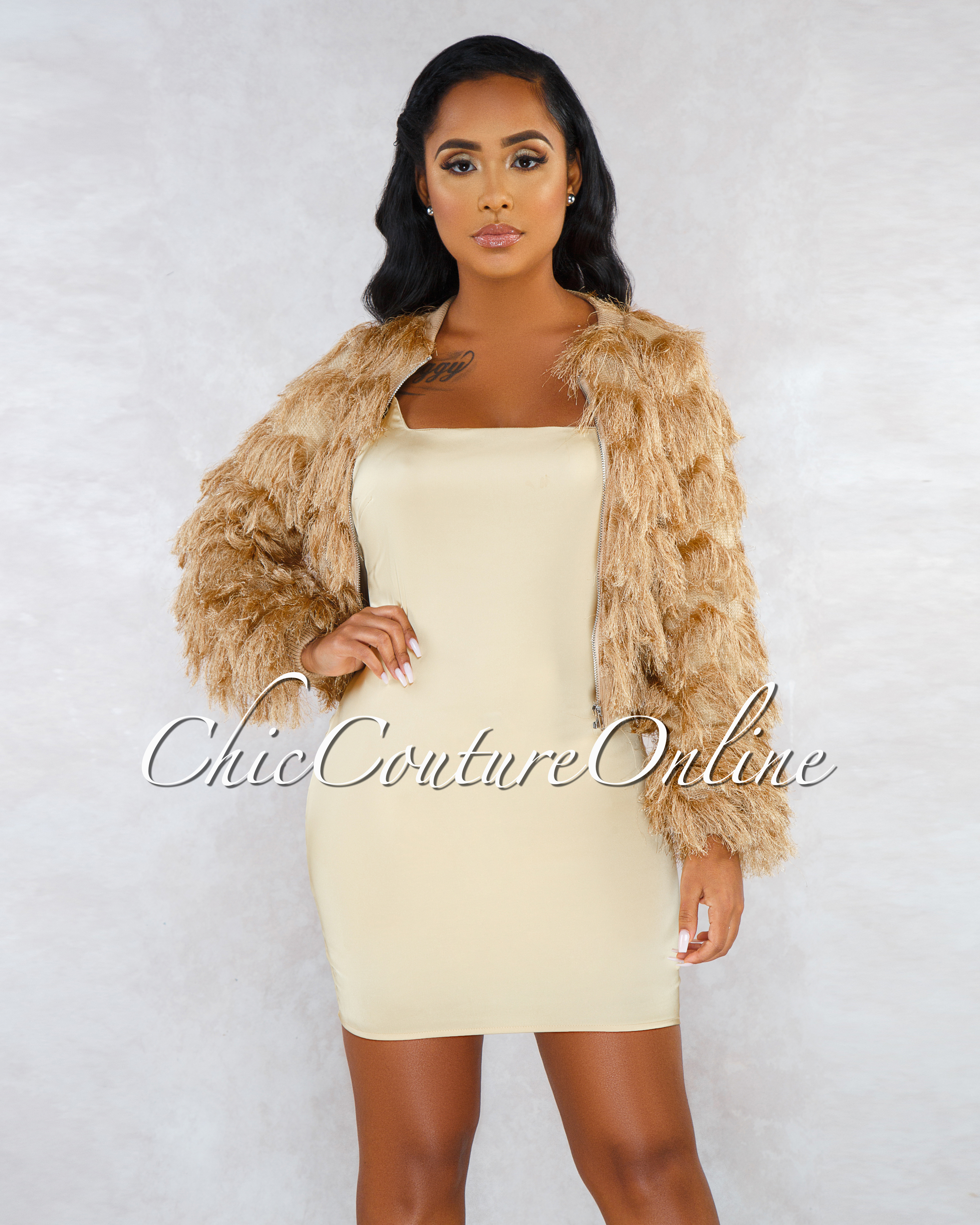 Meek Gold Satin Dress Faux Fur Jacket Set