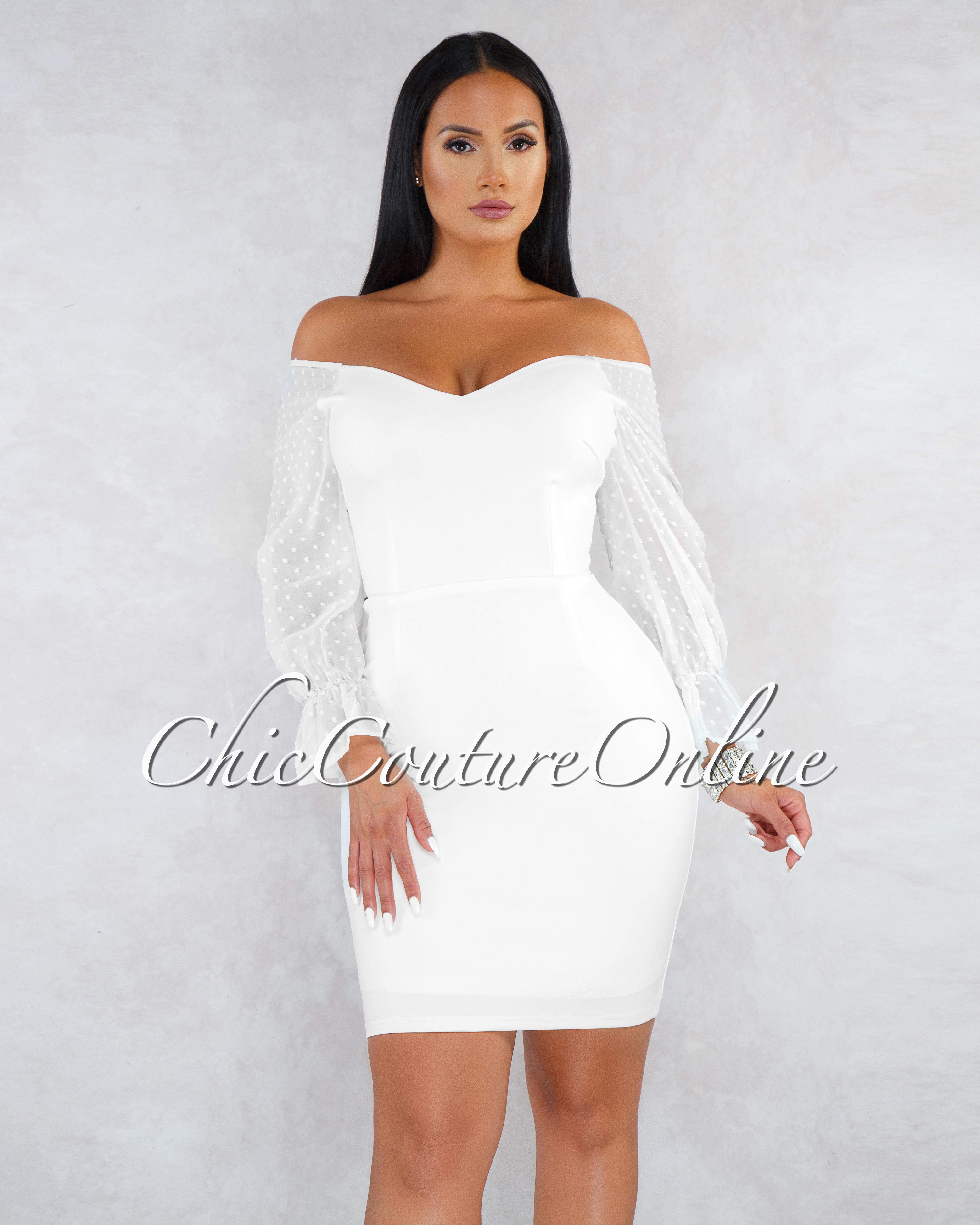 Sabra Off-White Lace-Up Back Sheer Sleeves Dress