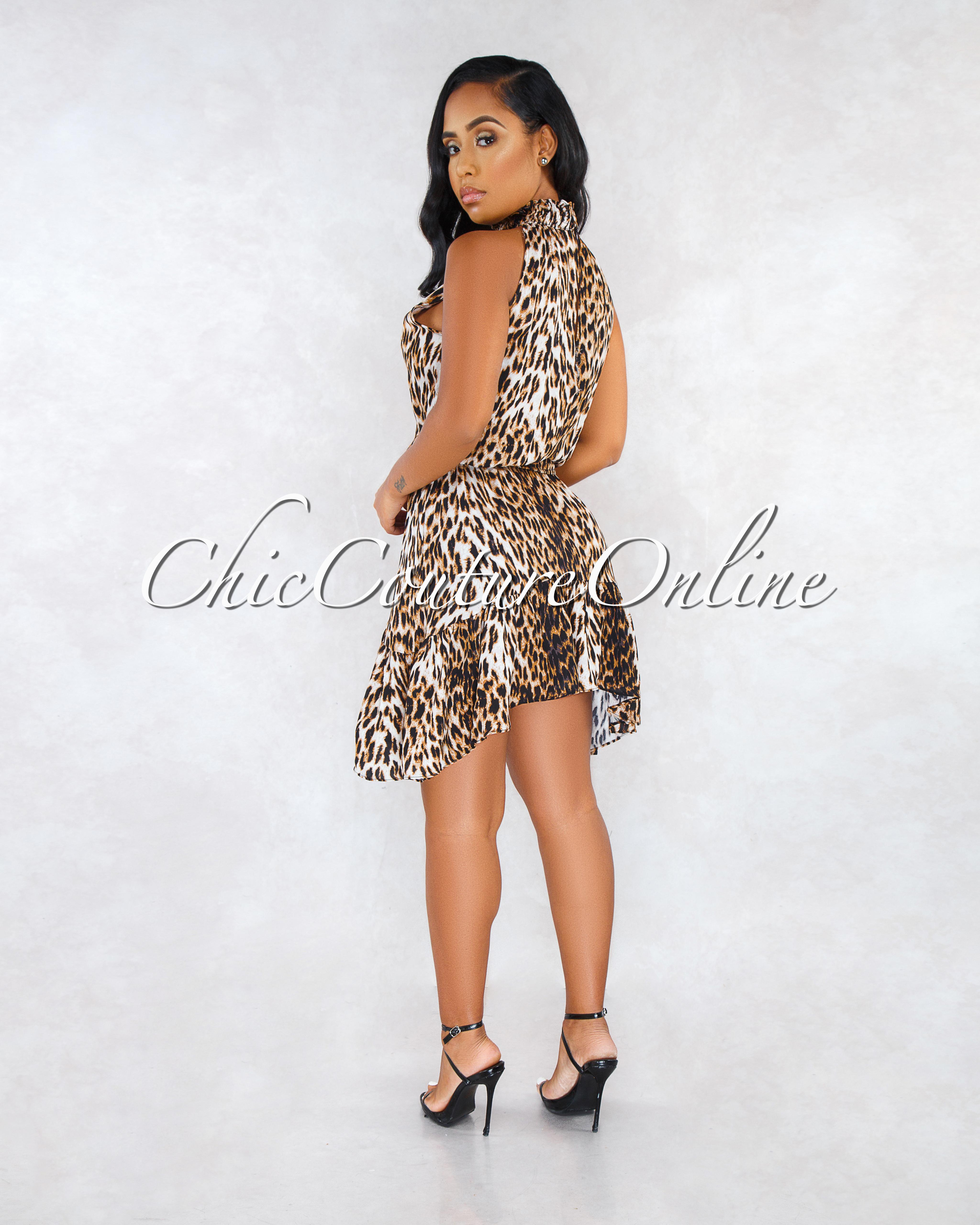 Rhoda Leopard Print Smoked Waist Ruffle Hem Dress