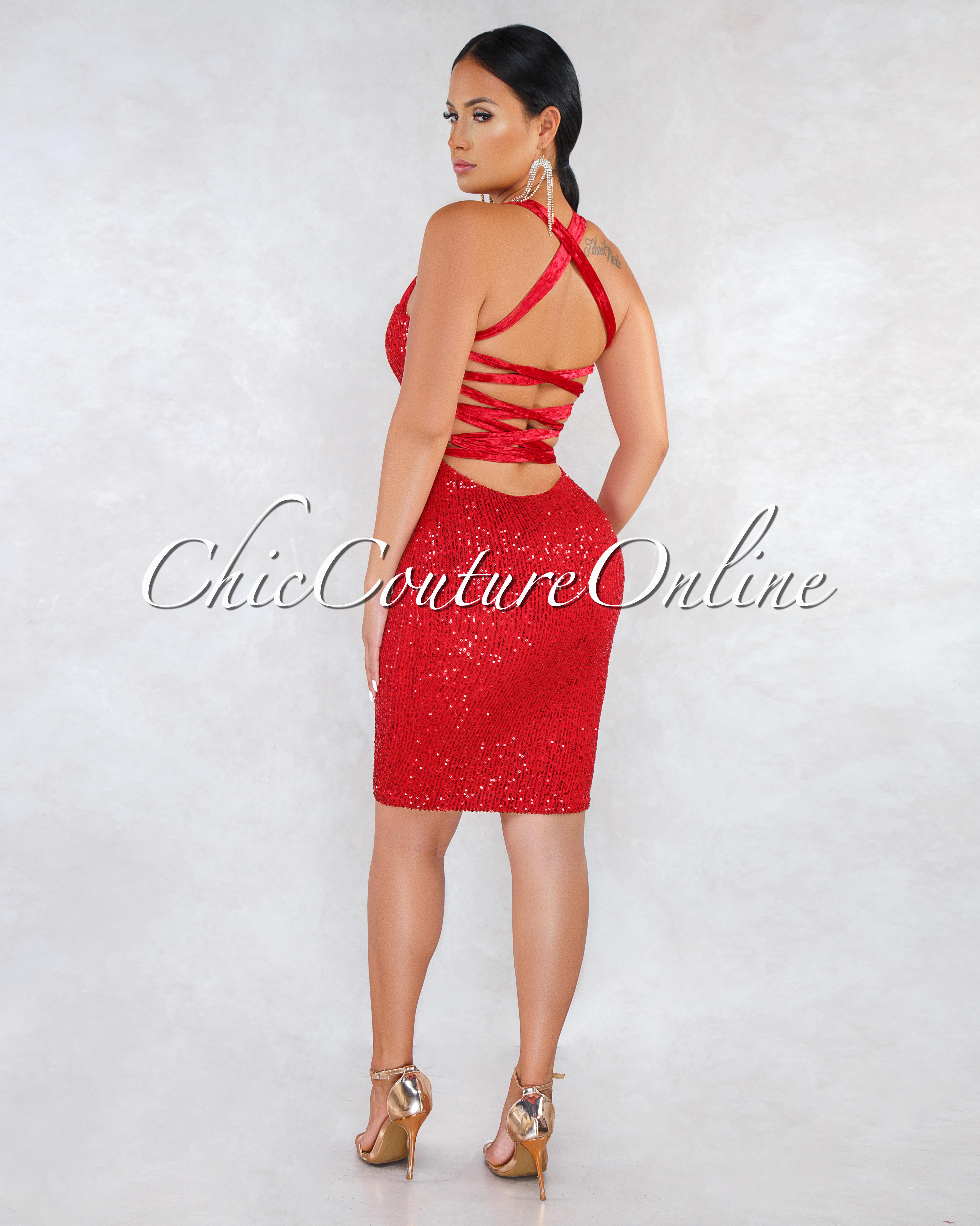 Paradise Red Sequins Velvet Lace-Up Back Dress