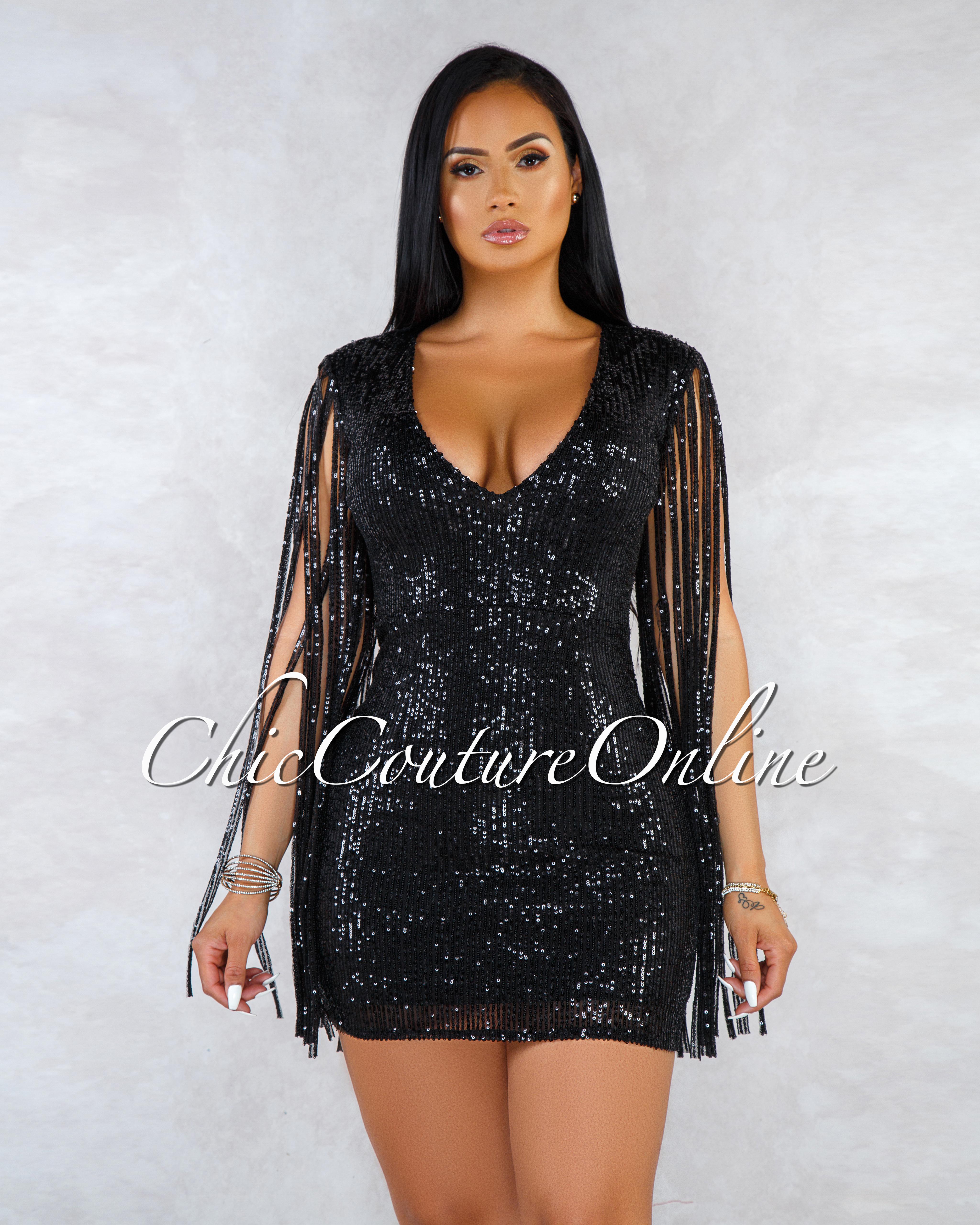 Catori Black Sequins Fringe Sleeves Dress