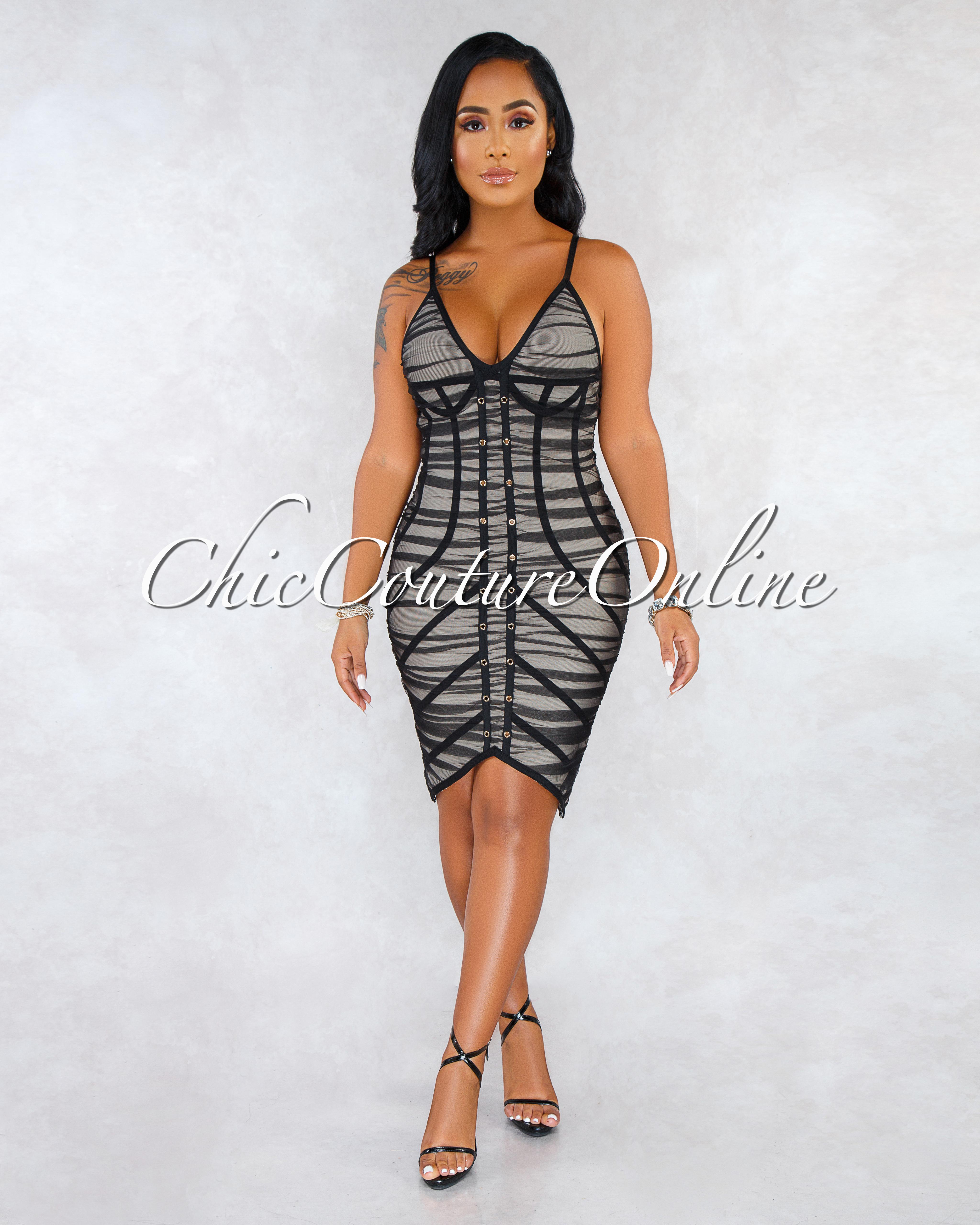 Starry Black Mesh Nude Bandage Dress
