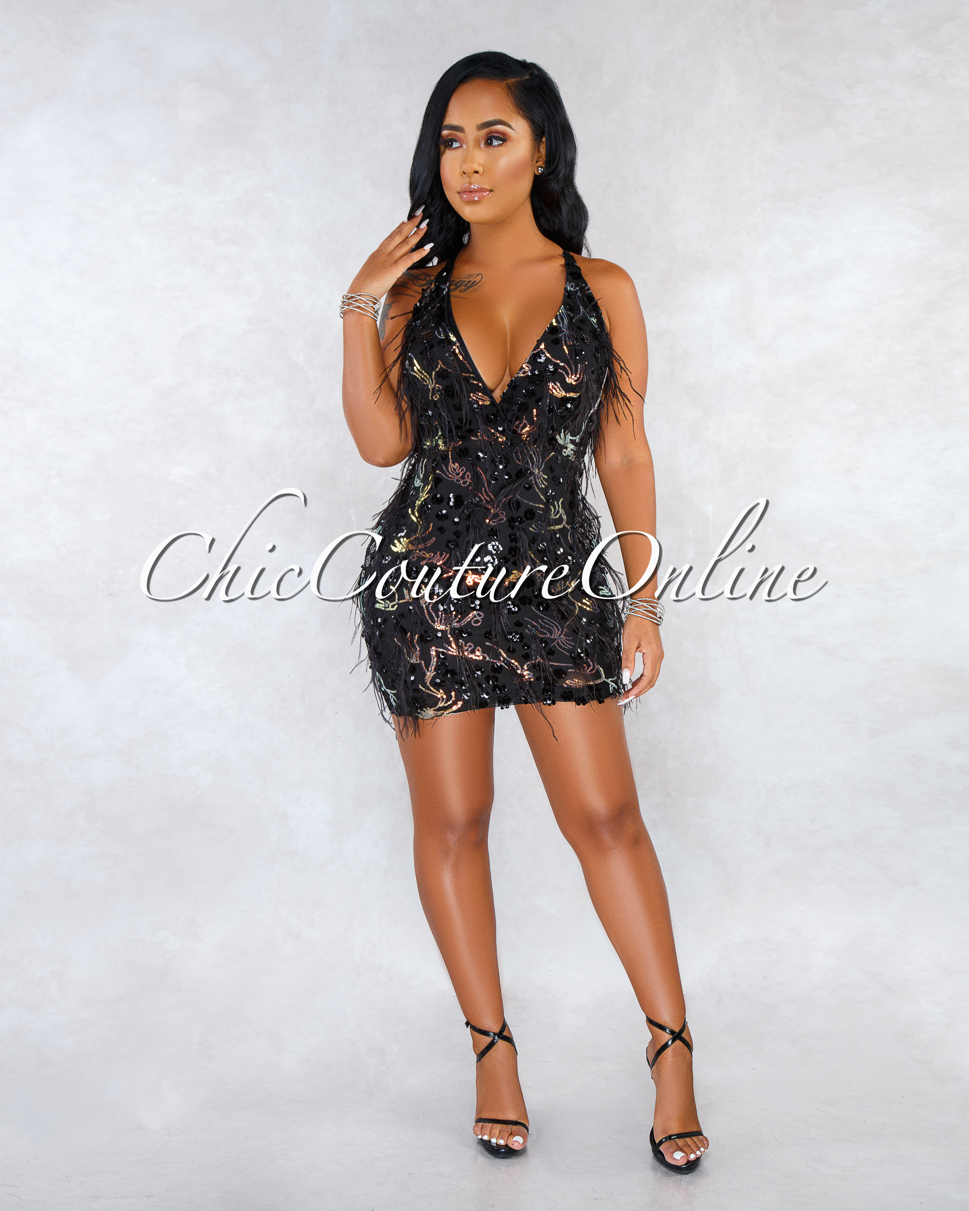 Analicia Black Iridescent Sequins Feather Details Dress