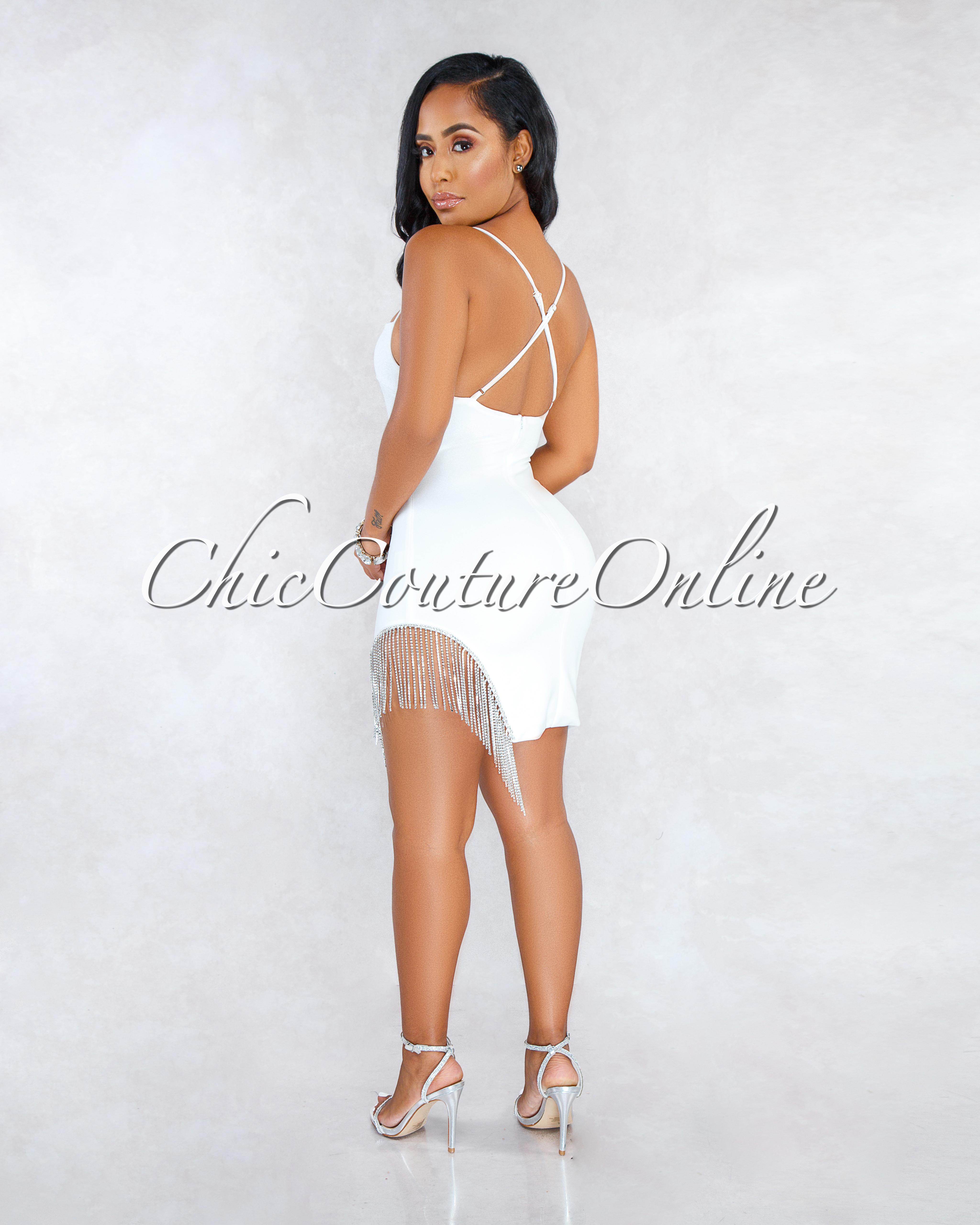 Santiago Off-White Fringe Rhinestones Sides Mini Dress