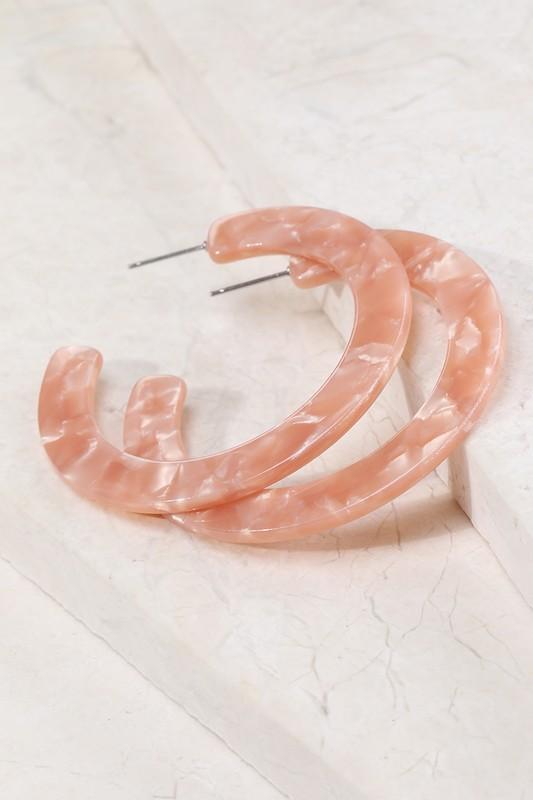 Fanya Peach Acetate Hoop Earring