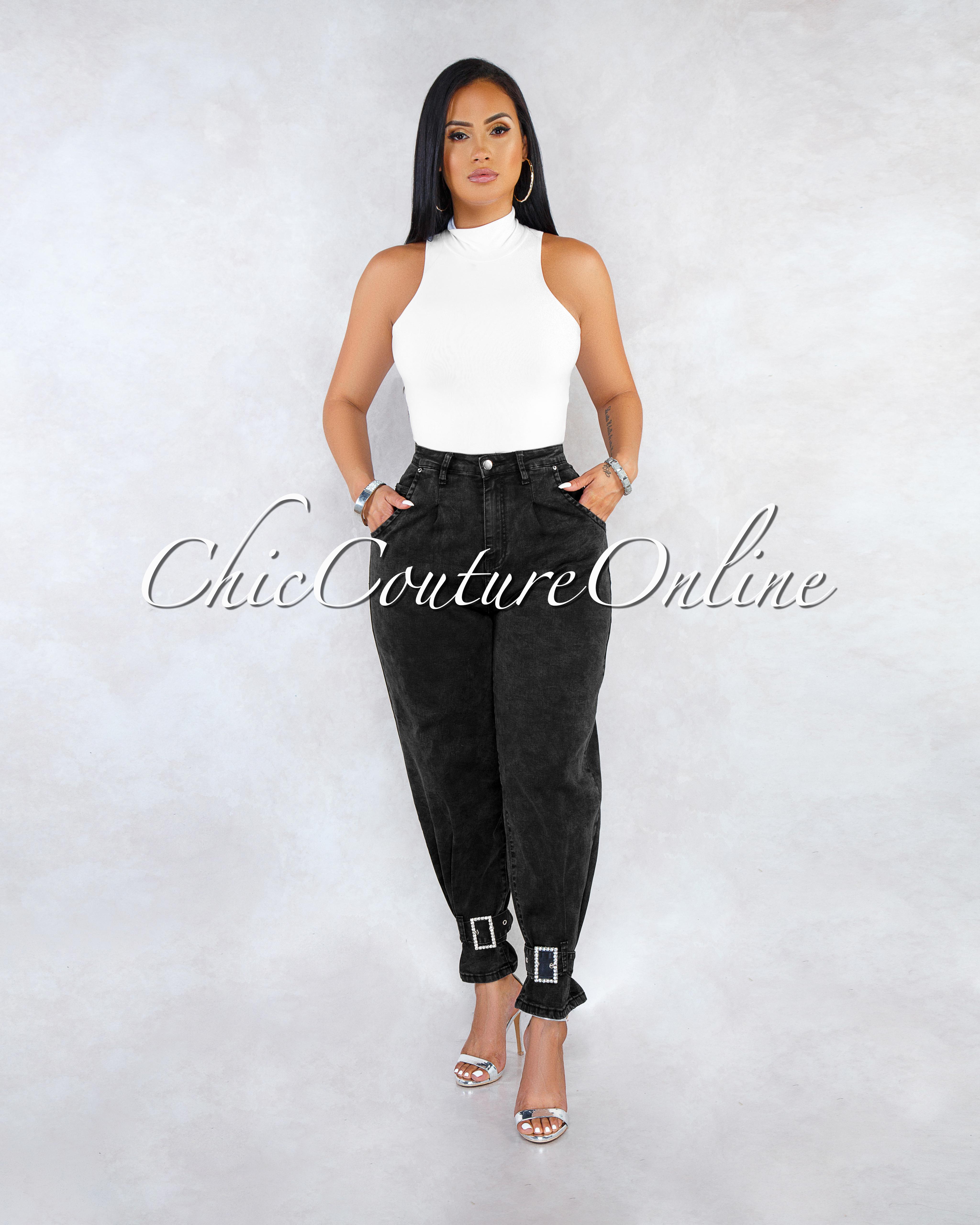 Juviana Black Denim Pleated Silver Belt Hem Pants