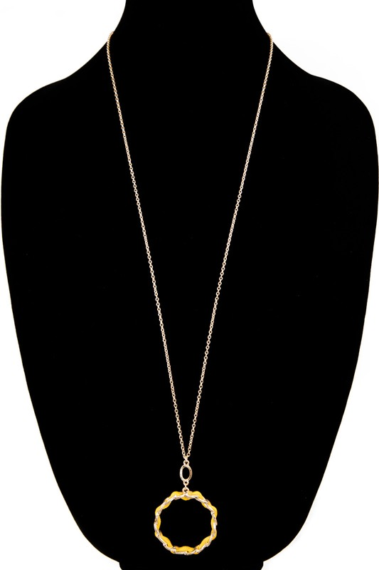 Jenn Gold Metal Chain With Faux Leather Necklace