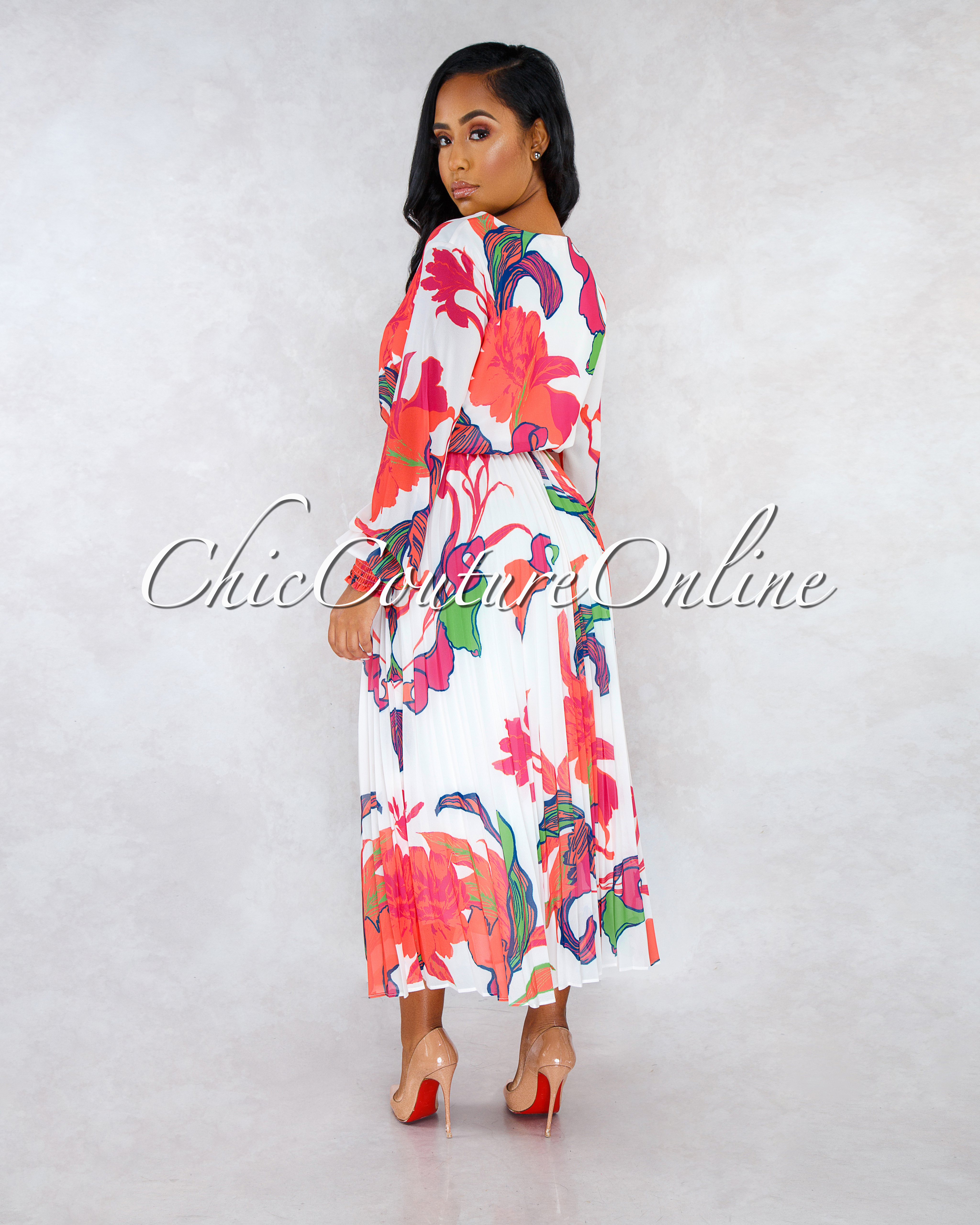 Yola Ivory Fuchsia Floral Print Self Tie Belt Midi Dress