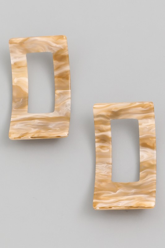 Aiko Beige Acetate Curved Rectangle Earrings