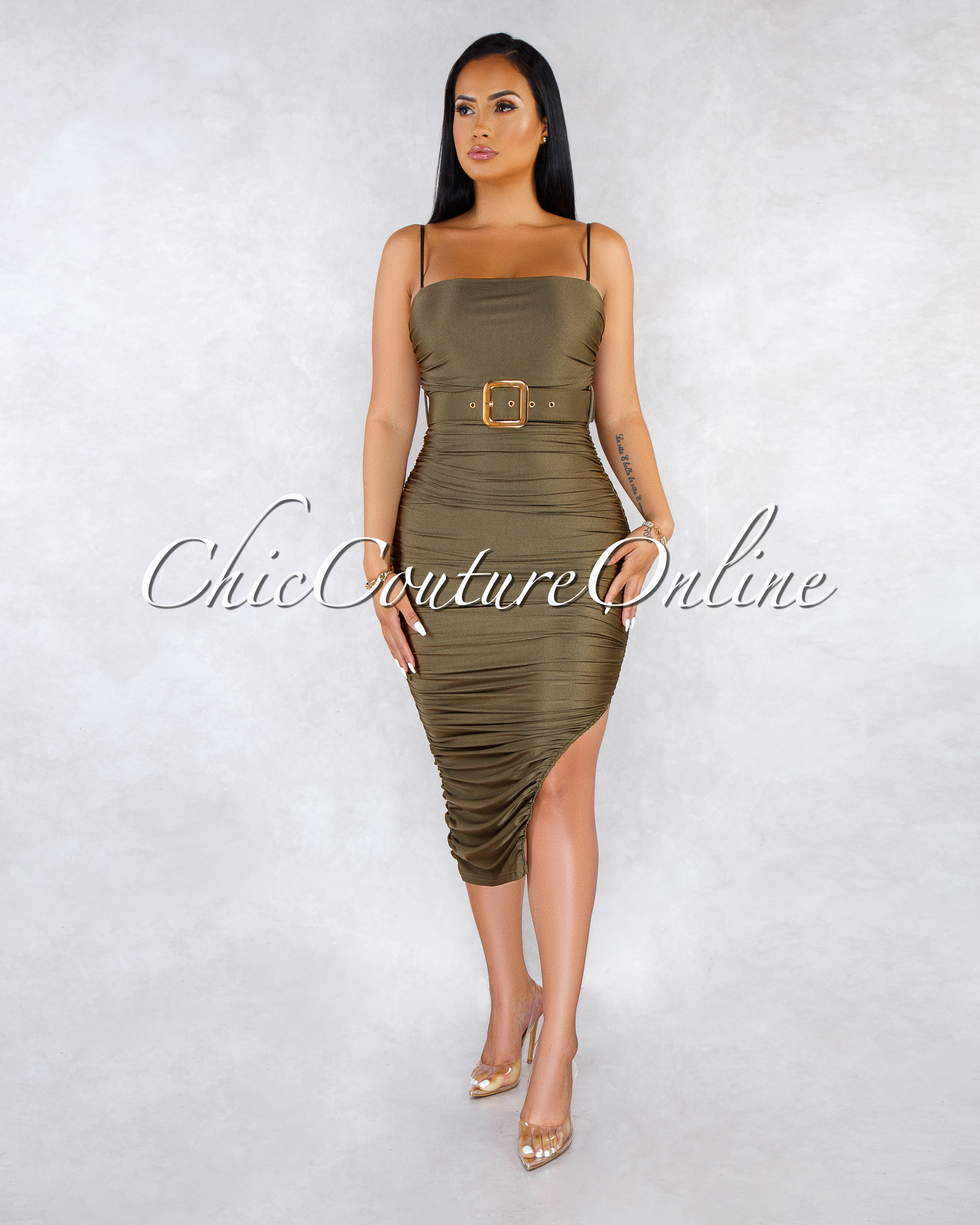 Yely Olive Green Ruched Gold Belt Accent Midi Dress