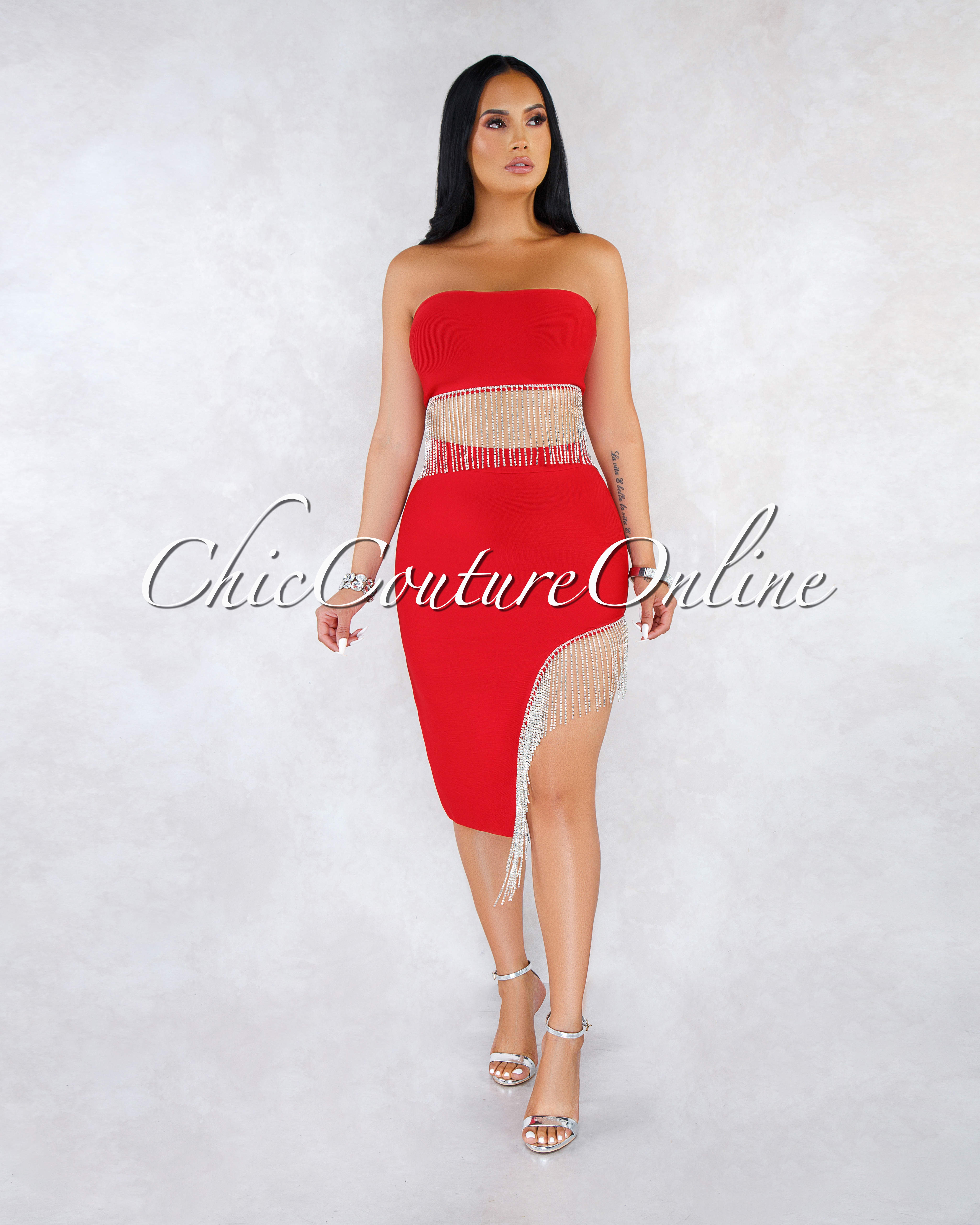 Christel Red Rhinestones Fringe Skirt Bandage Set