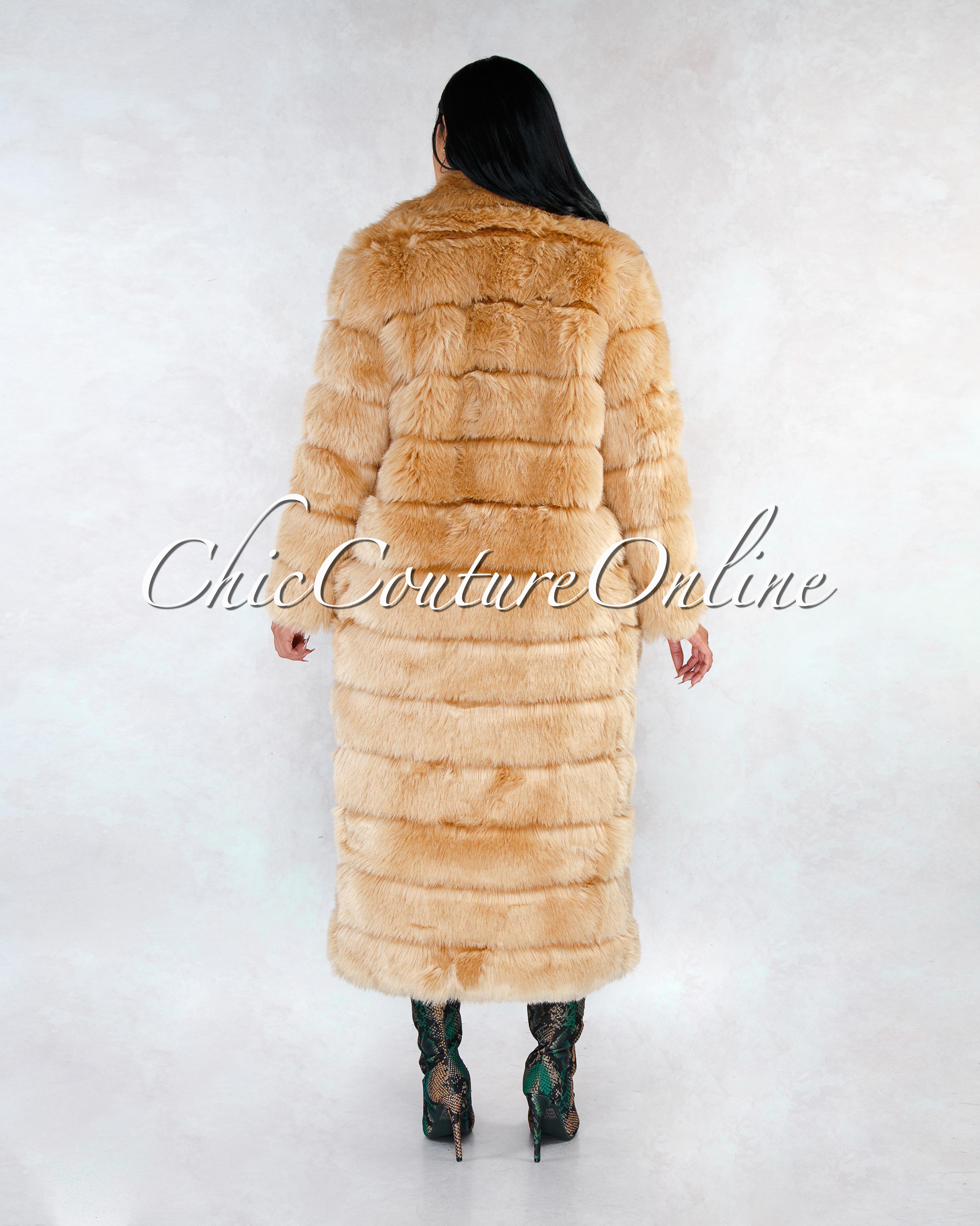 Jacky Taupe Faux Fur Hook Front Closure Maxi Coat