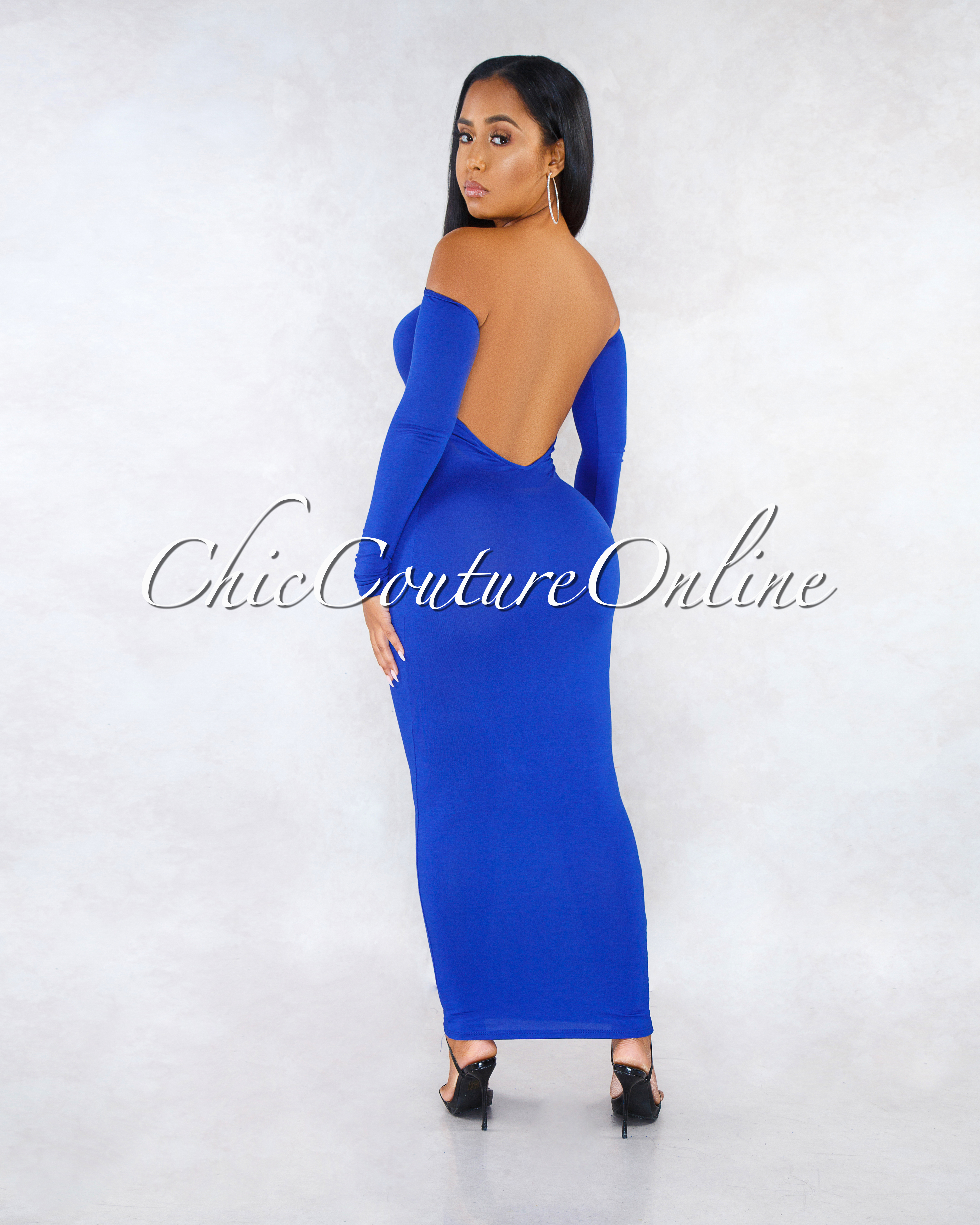 Madrina Royal Blue Long Sleeves Low Back Midi Dress