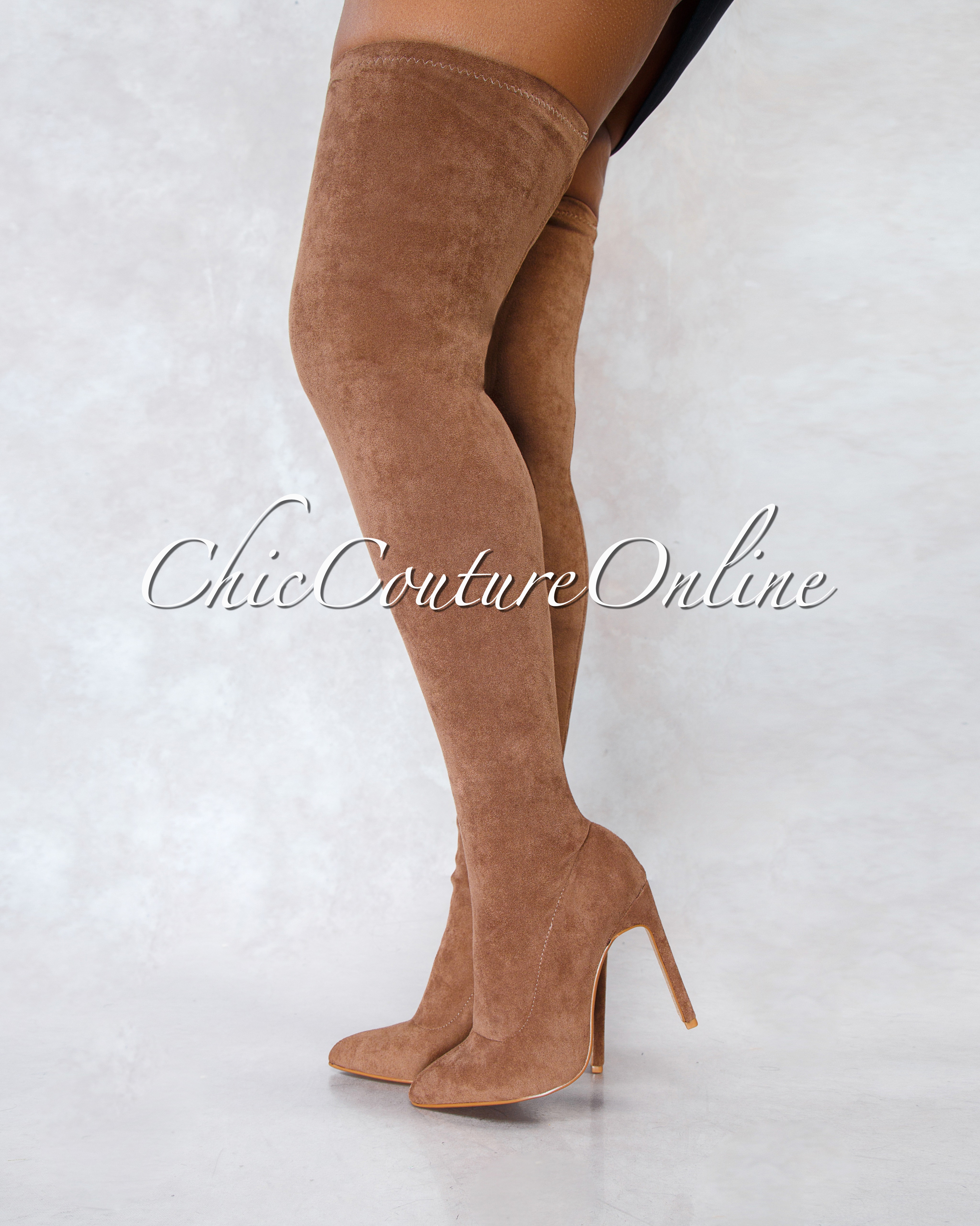 Veera Taupe Faux Suede Over-The-Knee Boots