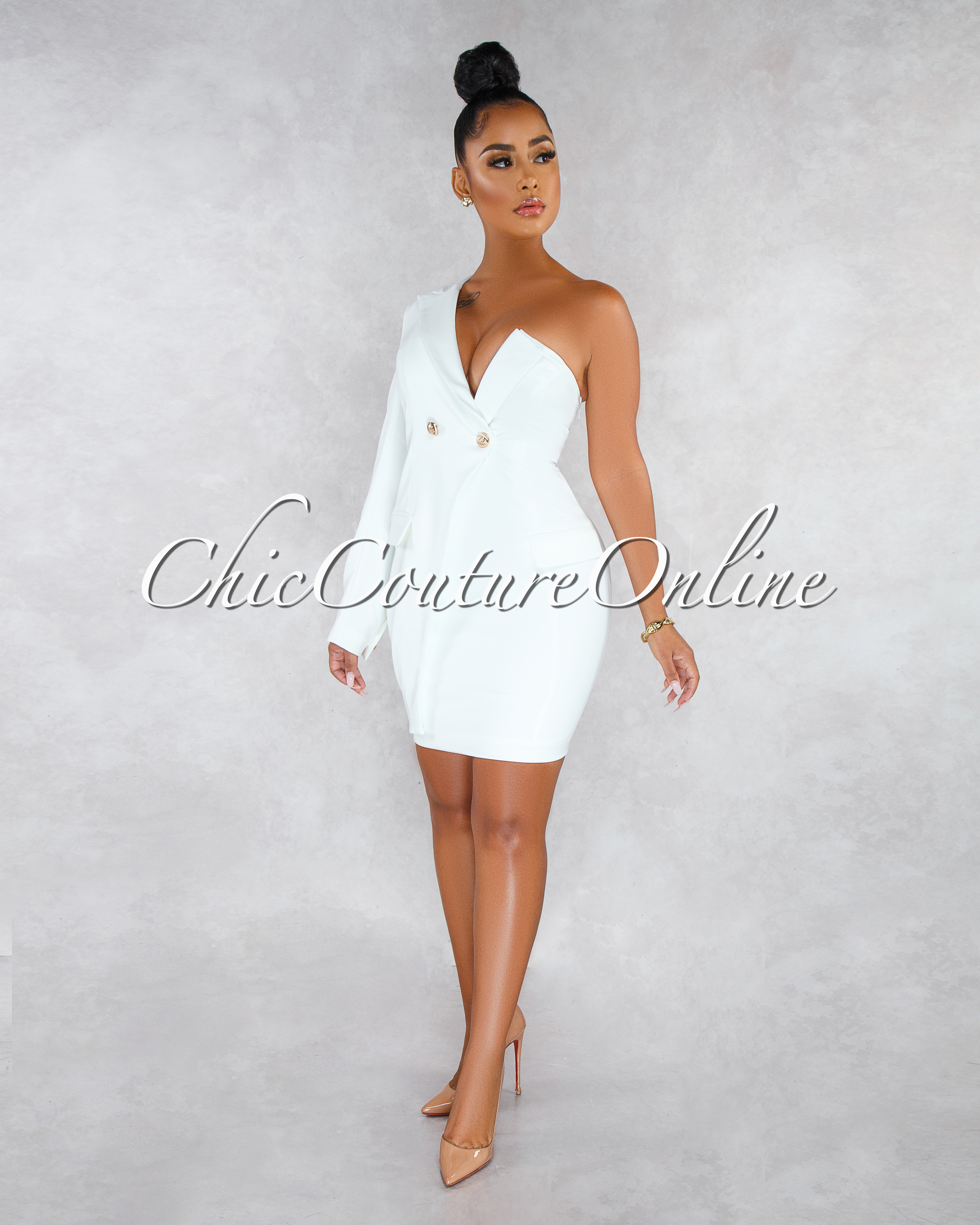 Karol Off-White Gold Buttons Trench Single Sleeve Dress