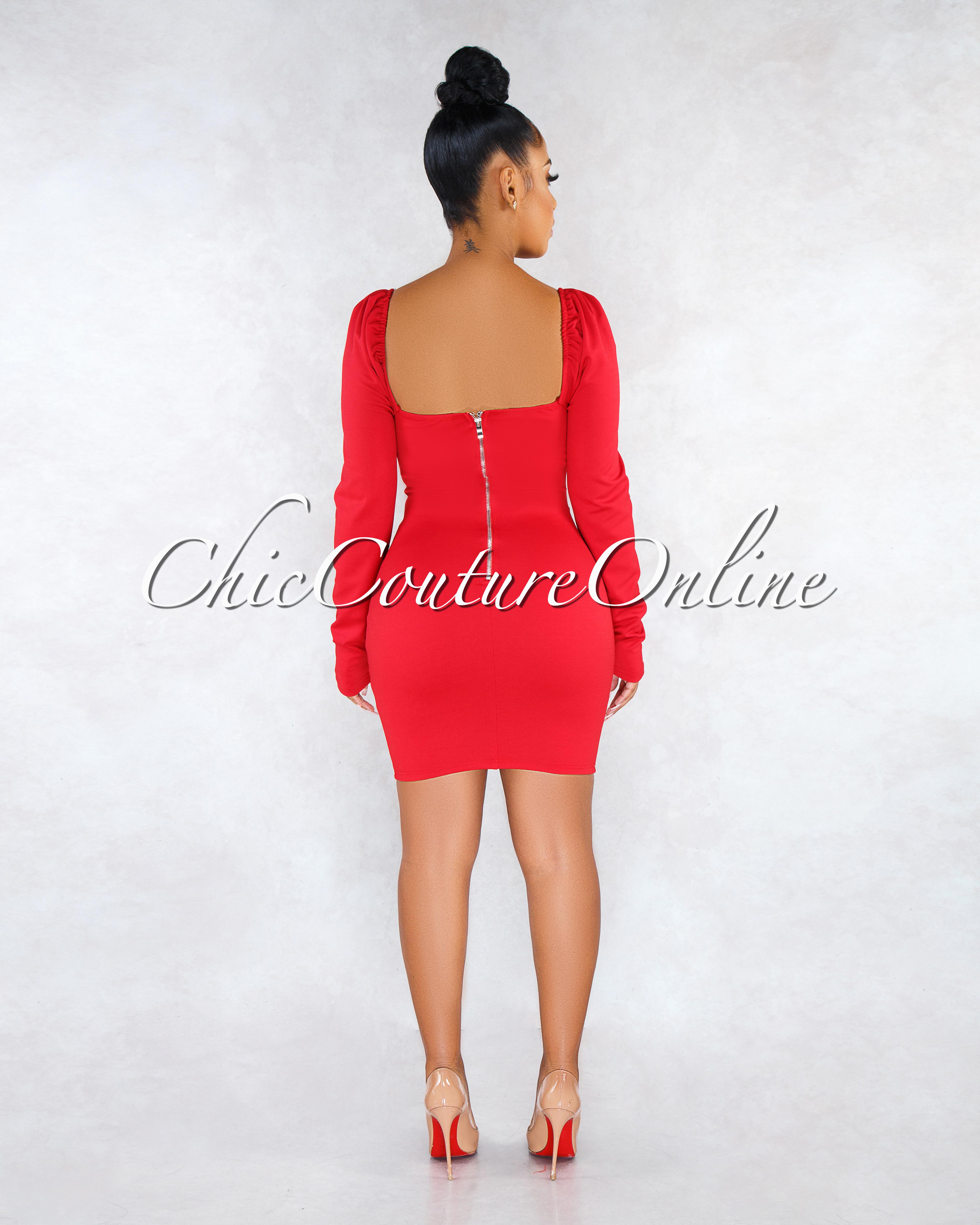 BellaLuna Red Puffy Sleeves Dress