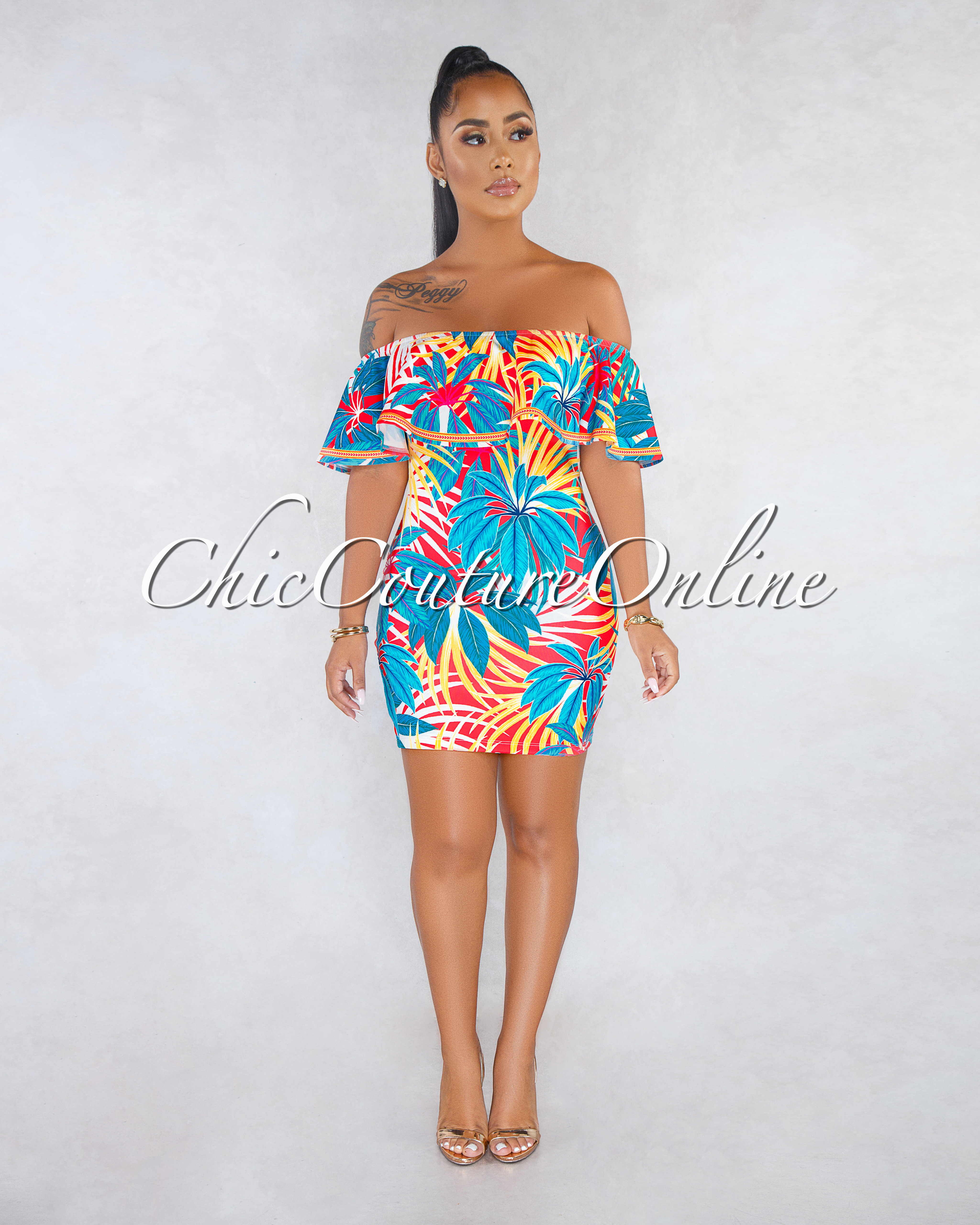 Lucy Red Blue Leaf Print Ruffle Body-Con Dress