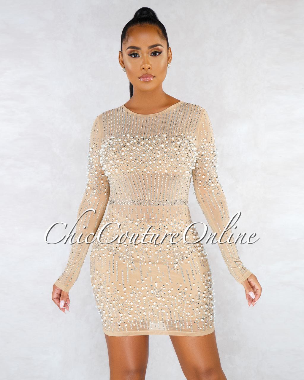 Catrin Nude Pearl Rhinestones Mesh Mini Dress