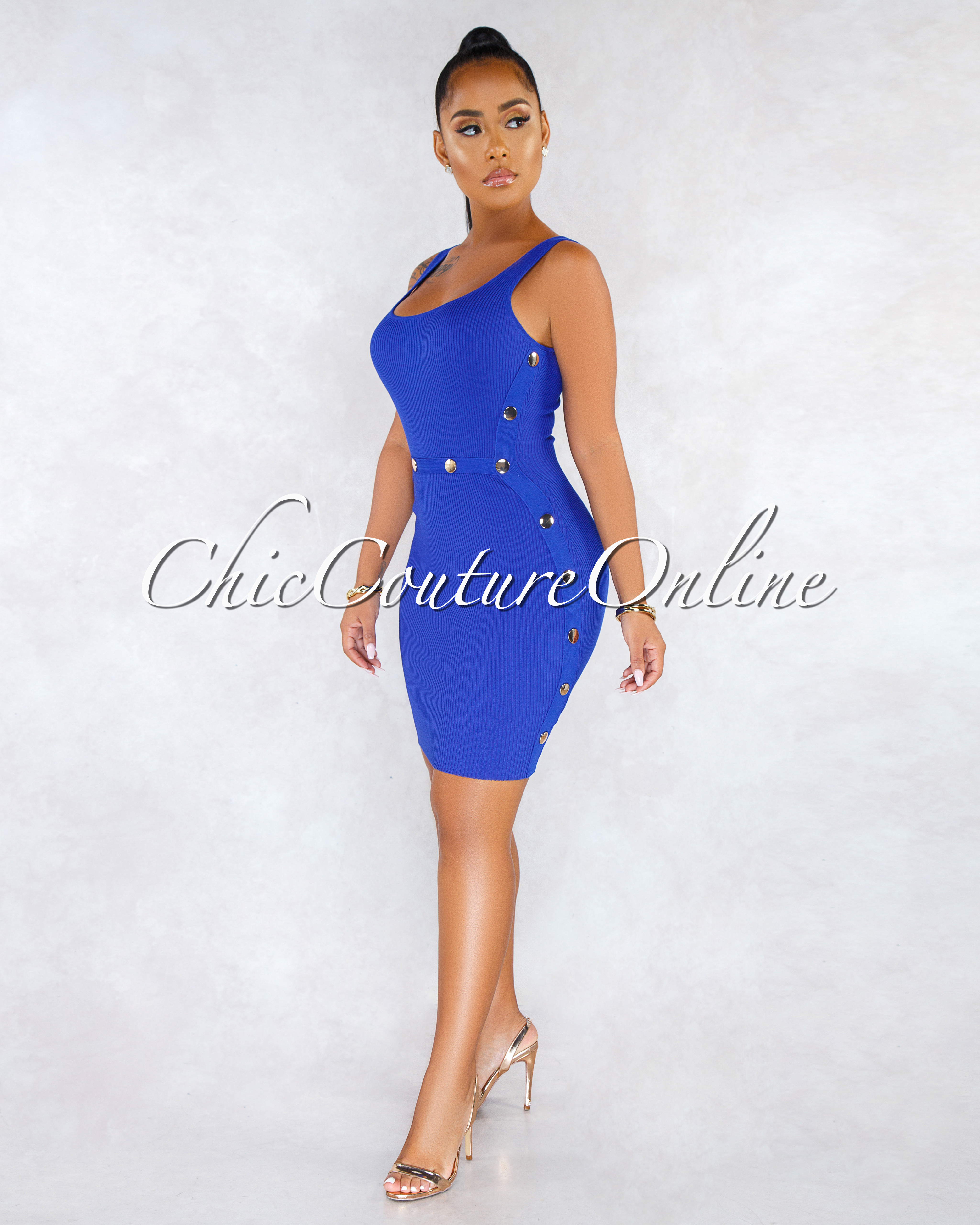 Sonnia Royal Blue Gold Snap Buttons Ribbed Dress