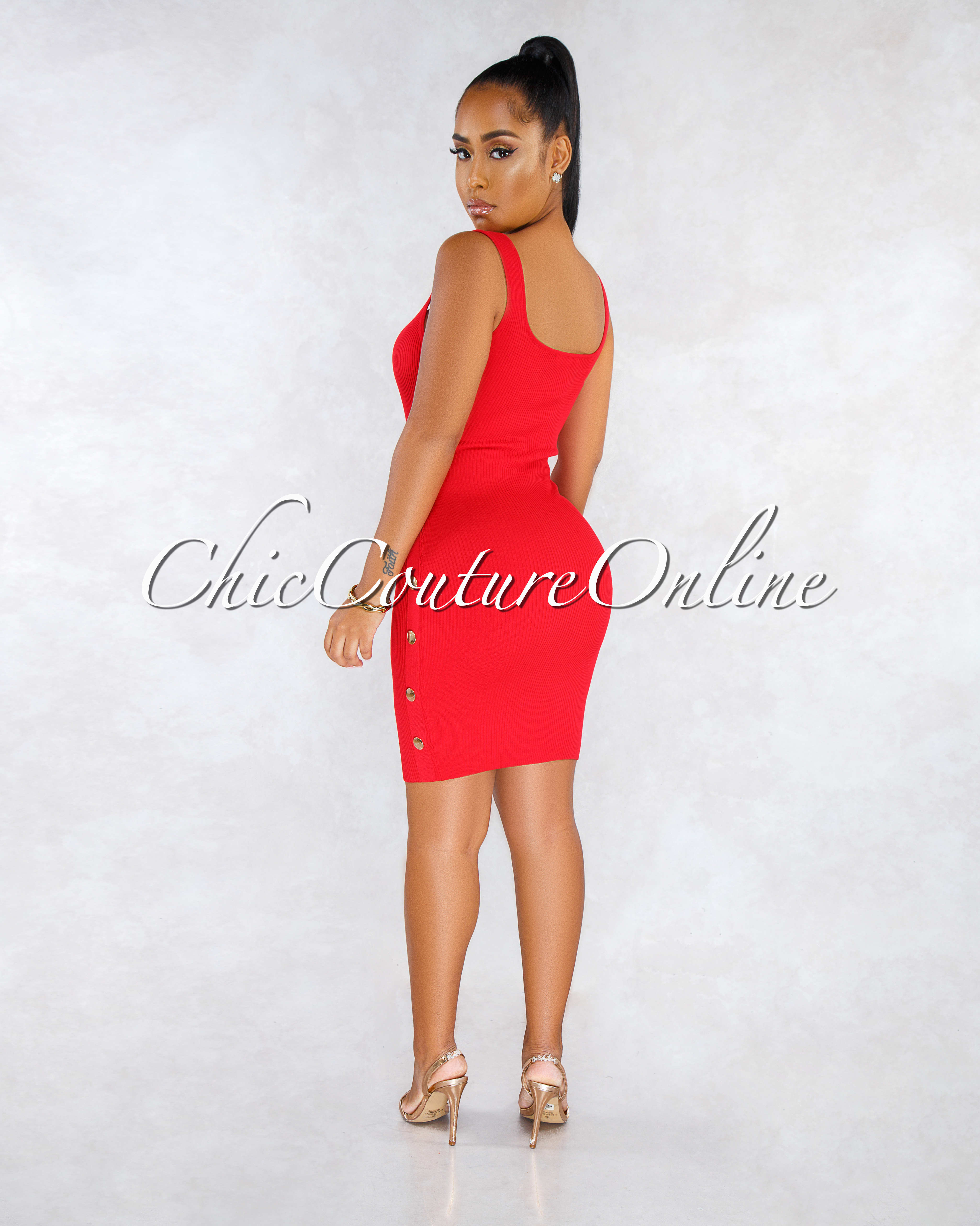 Sonnia Red Gold Snap Buttons Ribbed Dress