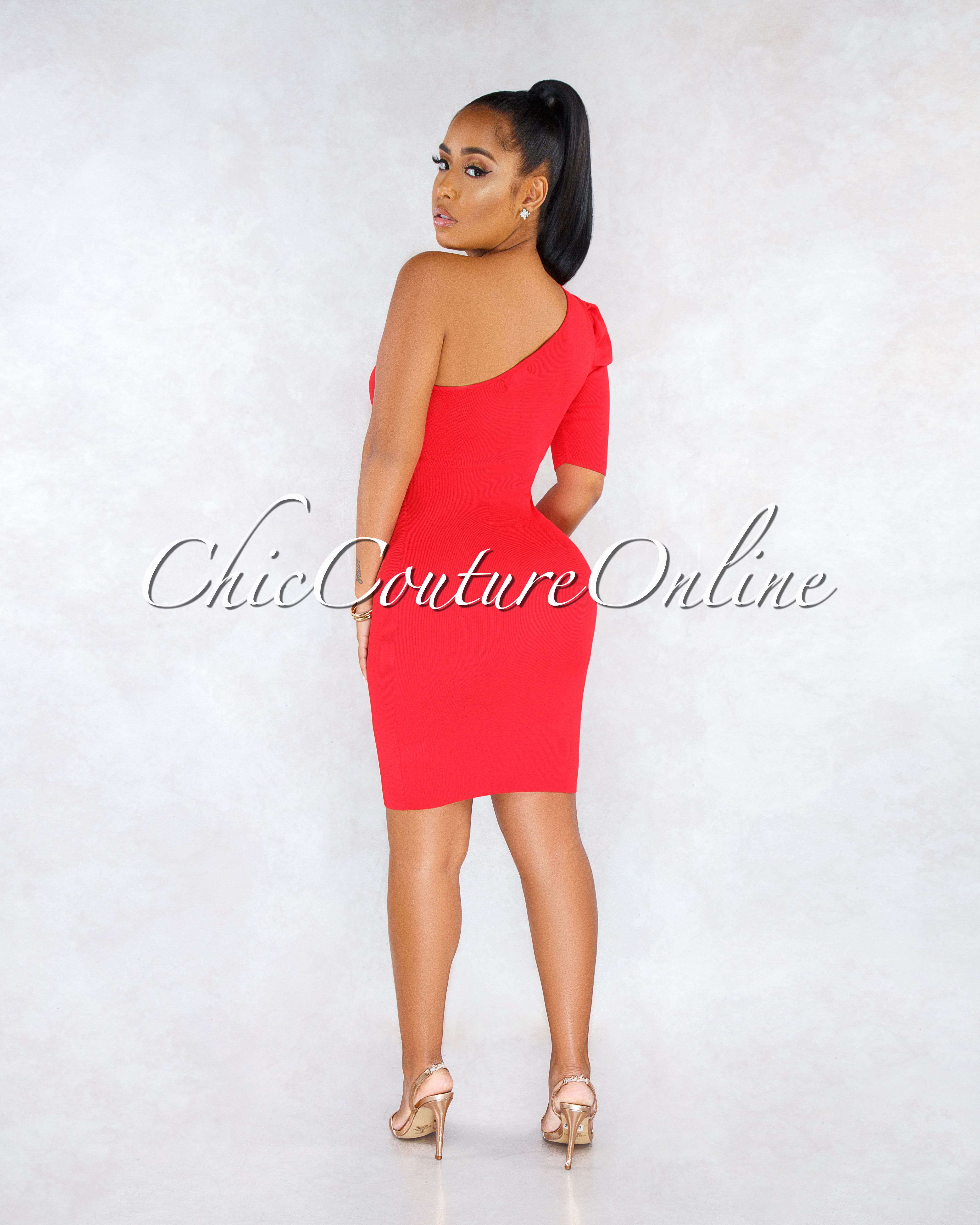 Spikey Red Single Puffy Sleeve Knit Midi Dress