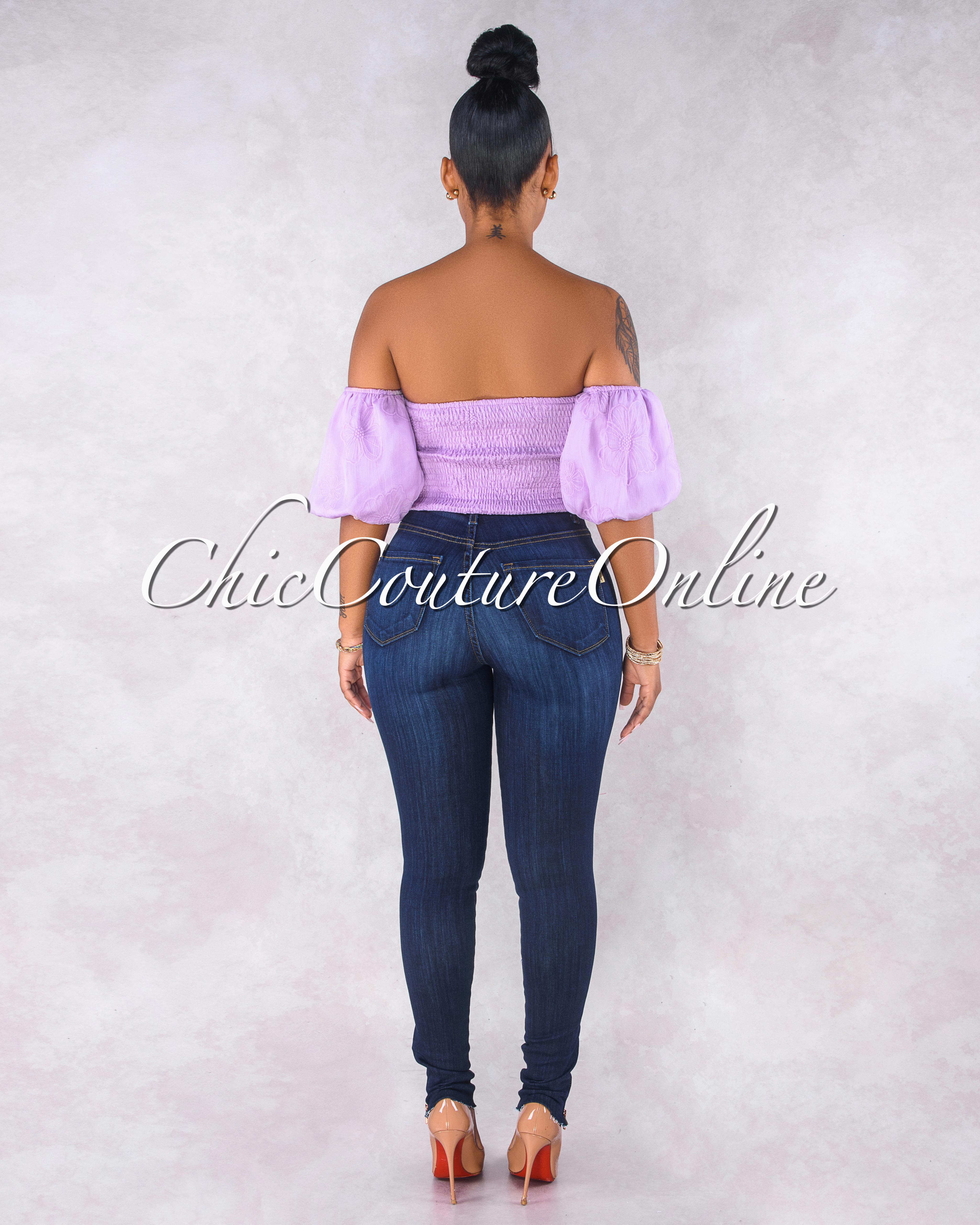 Makena Lilac Floral Texture Draped Crop Top