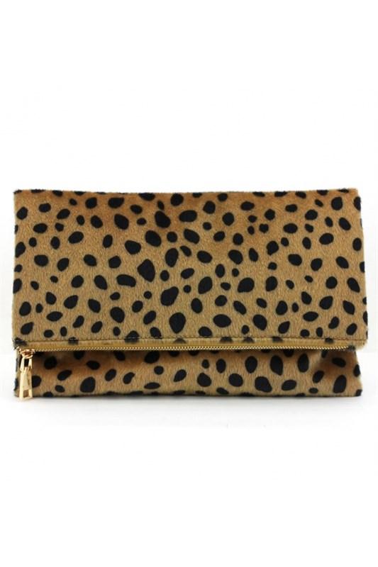 Noemy Leopard Print Fold Over Clutch Bag