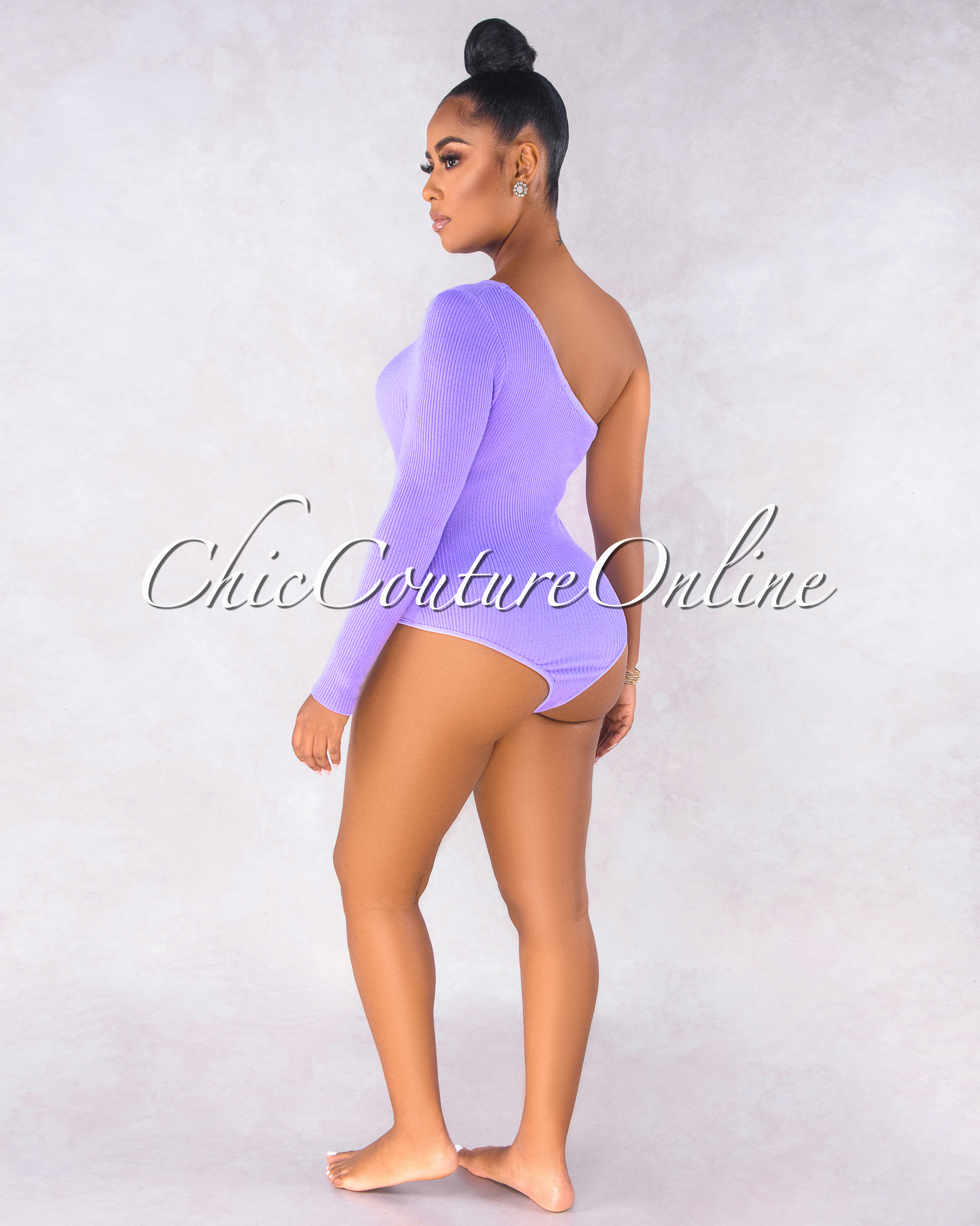 Semira Lilac Single Long Sleeve Ribbed Bodysuit