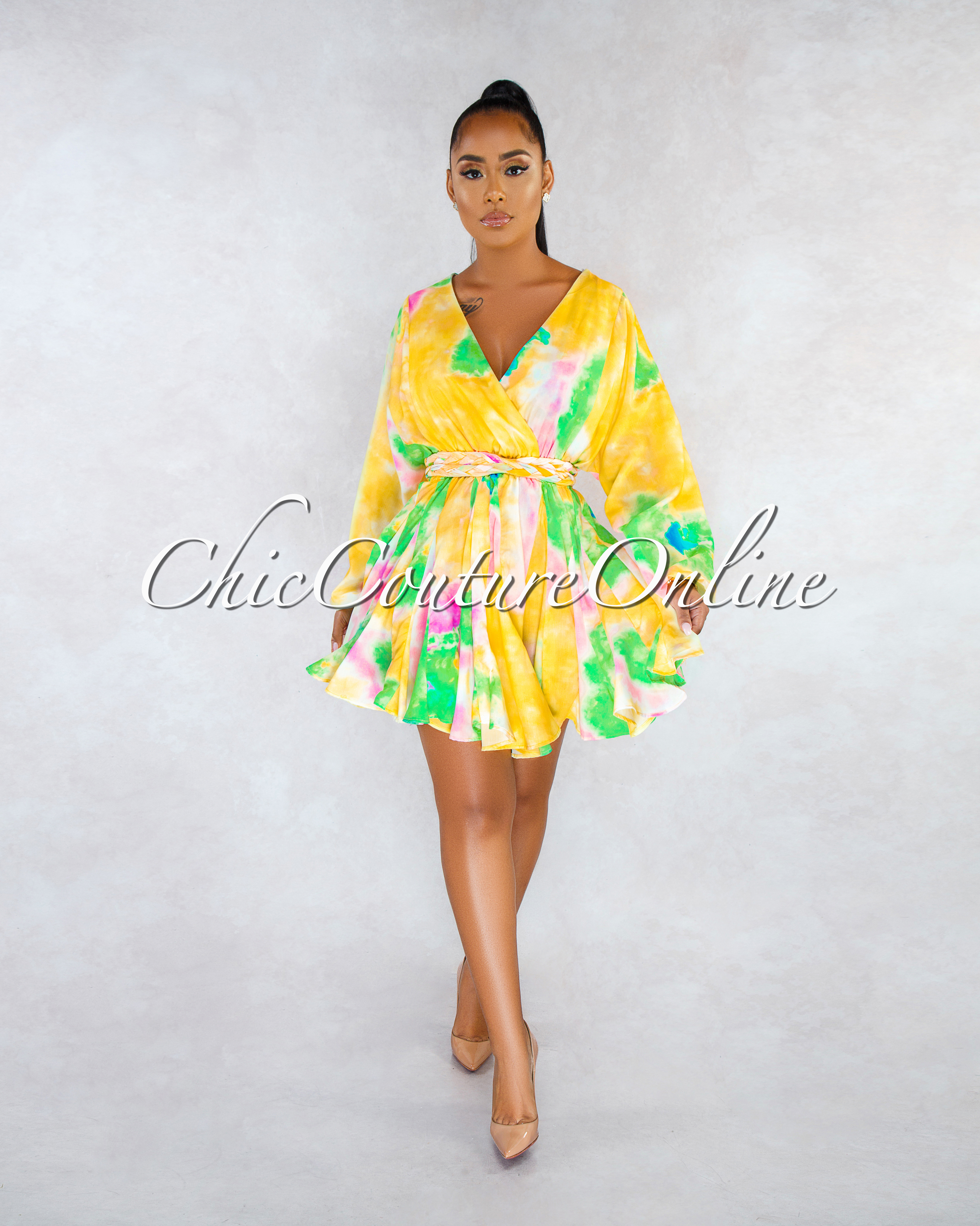 Zurie Yellow Multi-Color Pleated Bottom Skater CURVACEOUS Dress