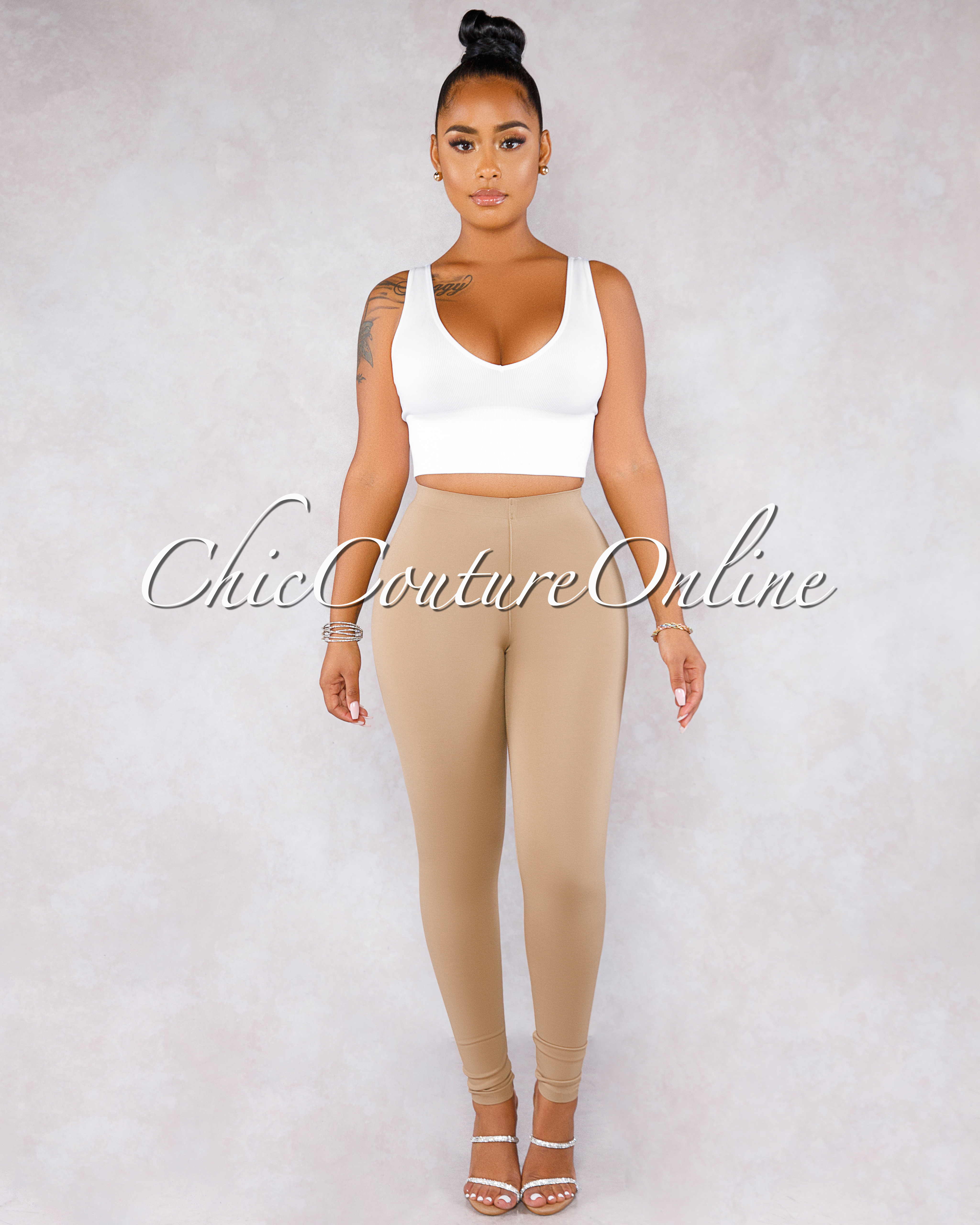 Fabianny Taupe High Waist CURVACEOUS Leggings