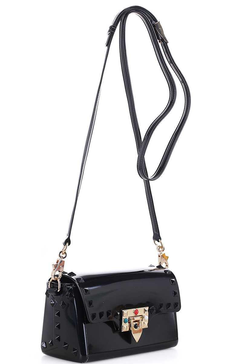 Tarra Black Studded Crossbody Bag
