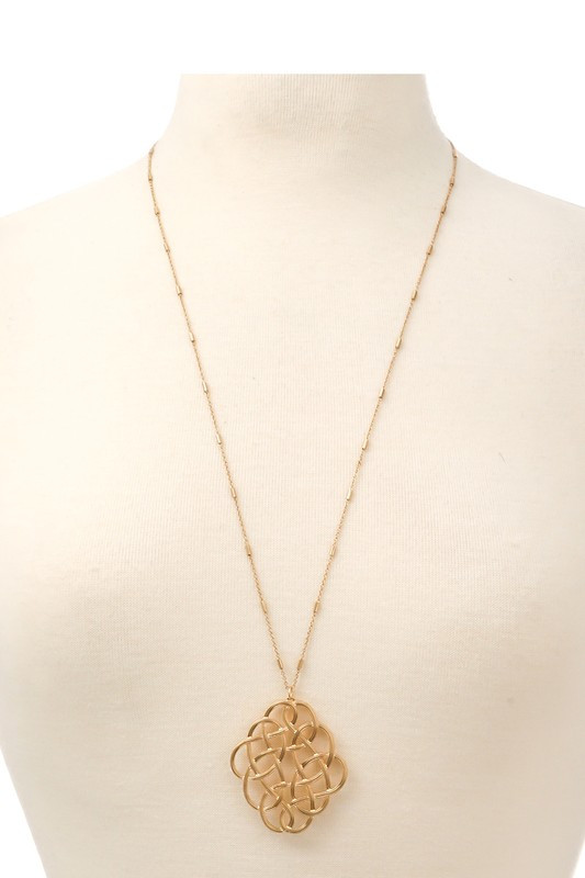 Morna Gold Metal Oval Weave Pendant Long Necklace