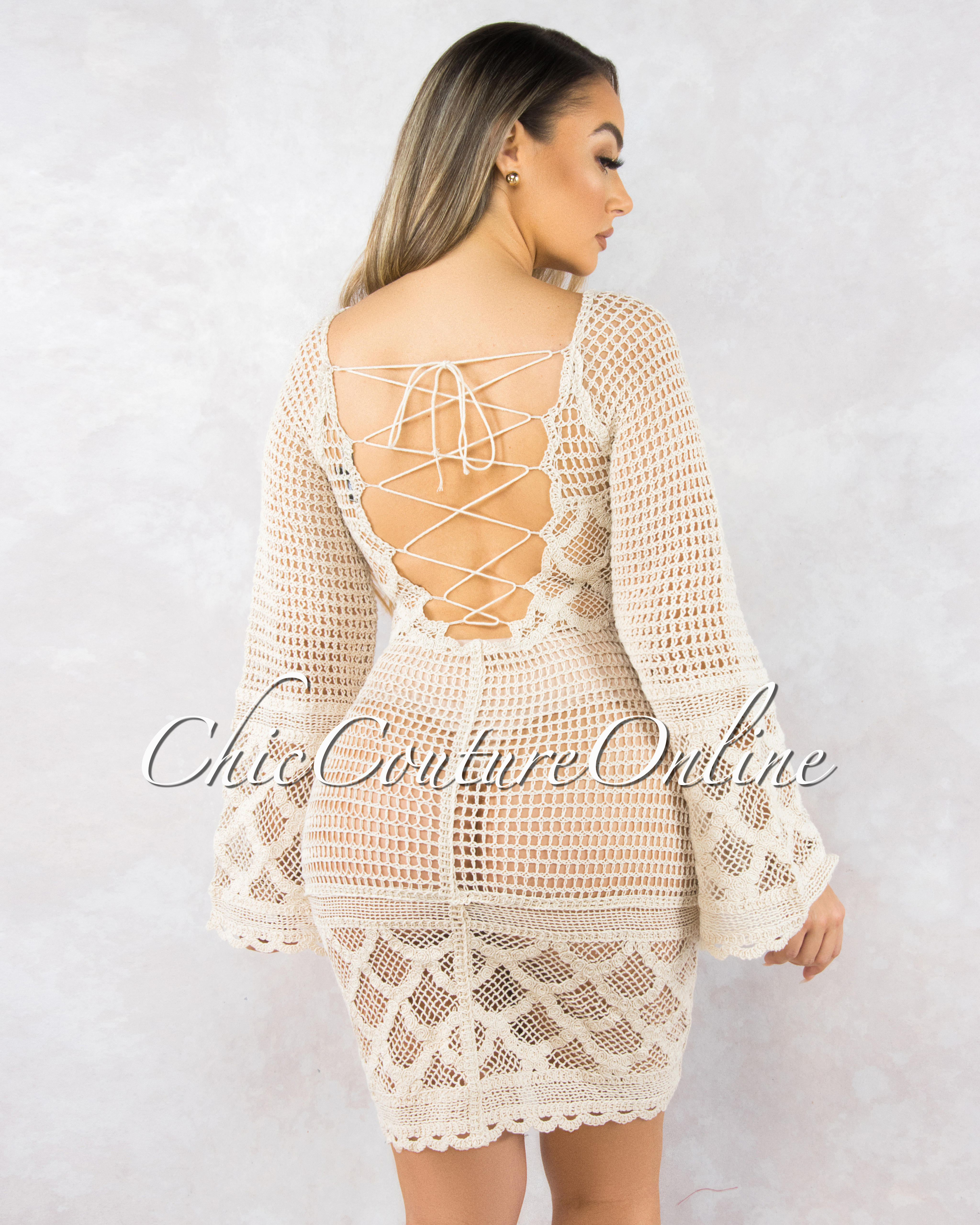 Bessie Beige Crochet Lace-Up Back Cover-Up Dress